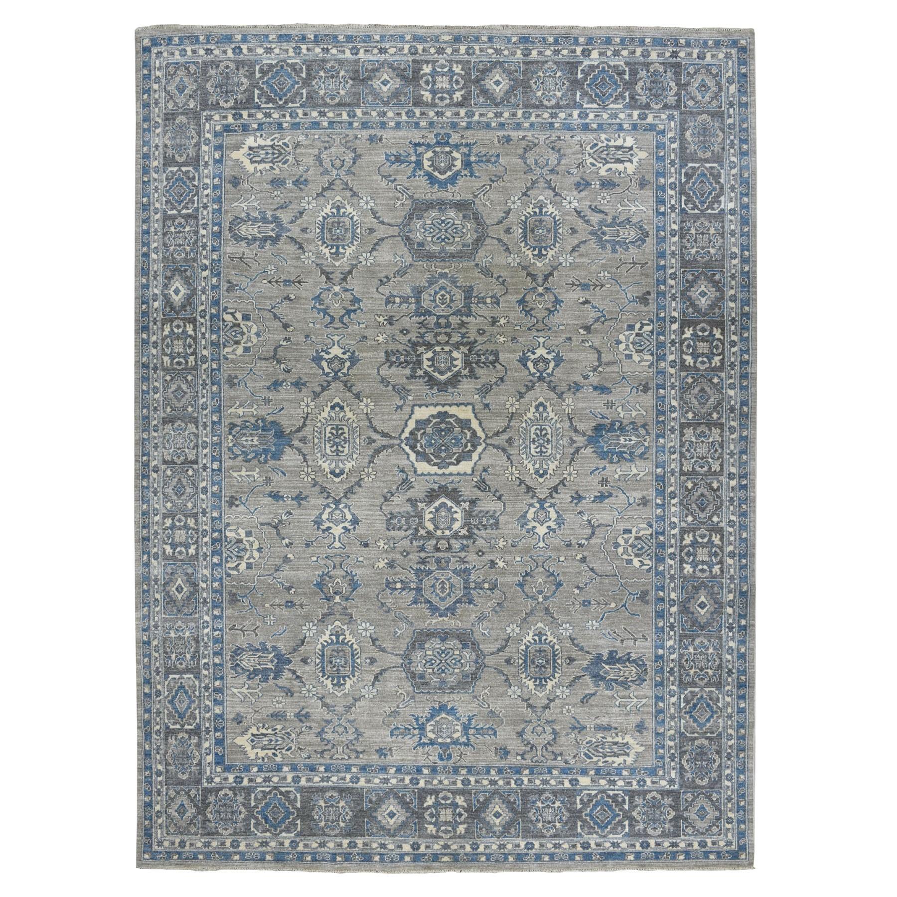 "8'6""X11'5"" Gray Pure Wool Hand-Knotted Peshawar With Karajeh Design Oriental Rug moaeadb8"