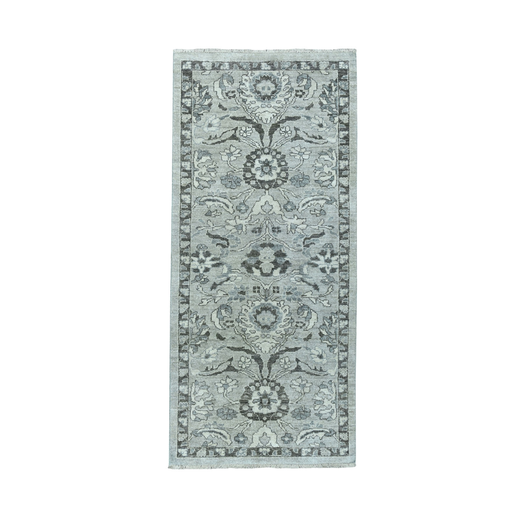 "2'7""X5'9"" Undyed Natural Wool Mahal Design Runner Hand Knotted Oriental Rug moaeadb9"