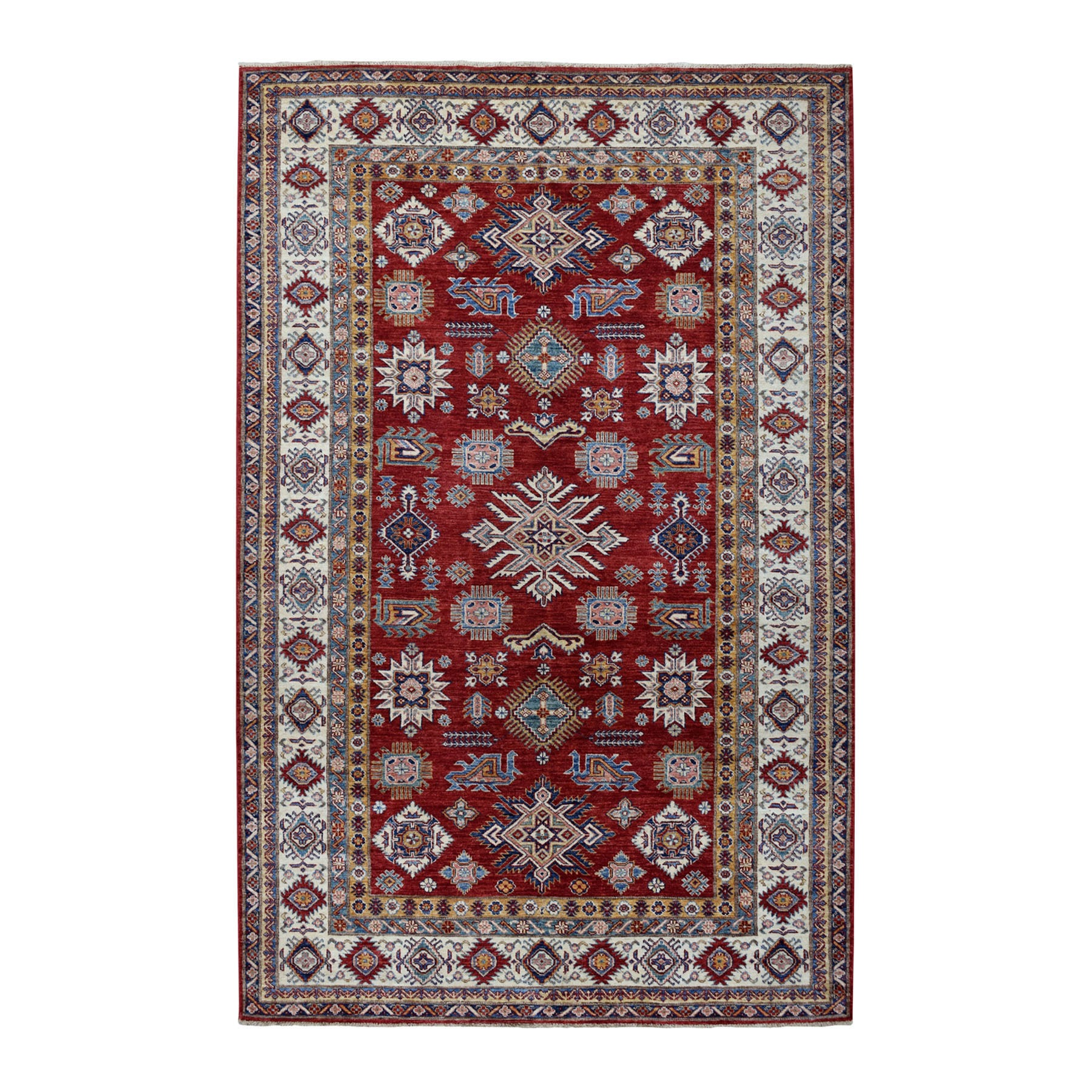 "6'3""X9'5"" Red Super Kazak Pure Wool Geometric Design Hand-Knotted Oriental Rug moaeadc0"