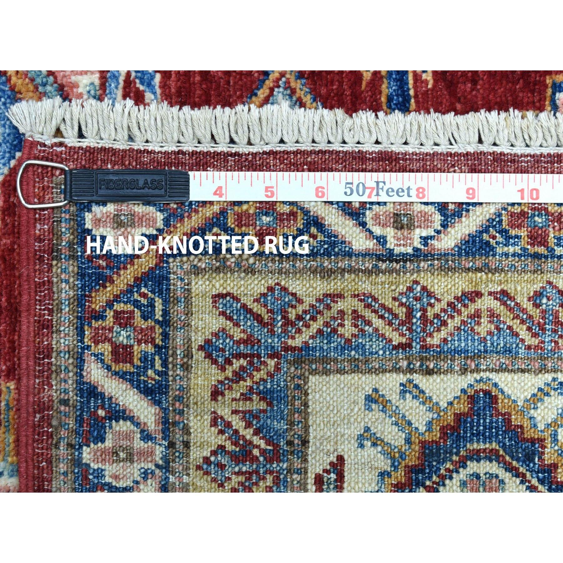 6-3 x9-5  Red Super Kazak Pure Wool Geometric Design Hand-Knotted Oriental Rug