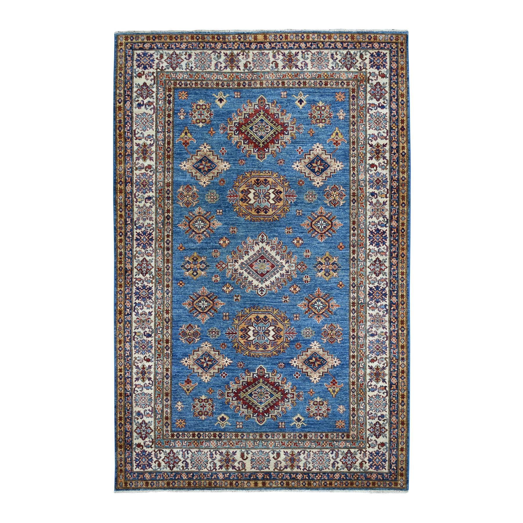"5'8""X8'6"" Blue Super Kazak Geometric Design Pure Wool Hand-Knotted Oriental Rug moaeadca"
