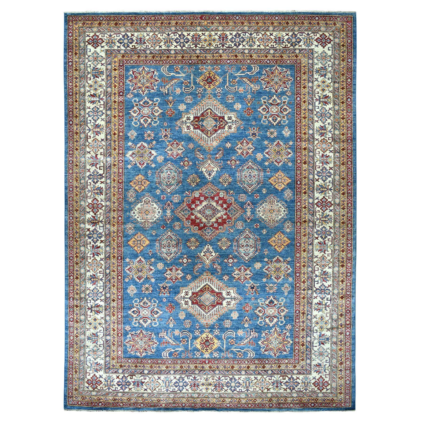 "8'9""X12'5"" Blue Super Kazak Geometric Design Pure Wool Hand-Knotted Oriental Rug moaeadcb"