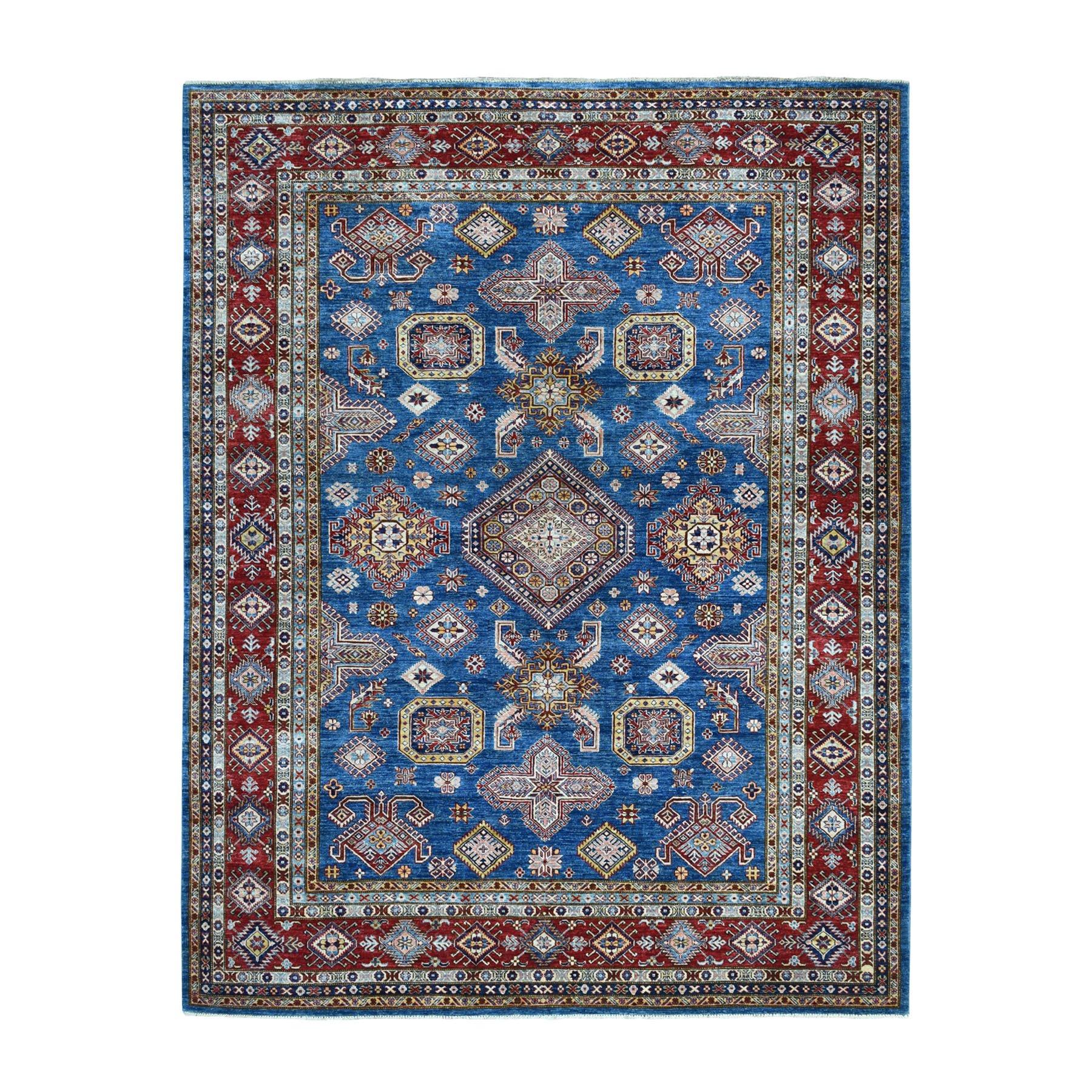 8'X10' Blue Super Kazak Geometric Design Pure Wool Hand-Knotted Oriental Rug moaeadcc