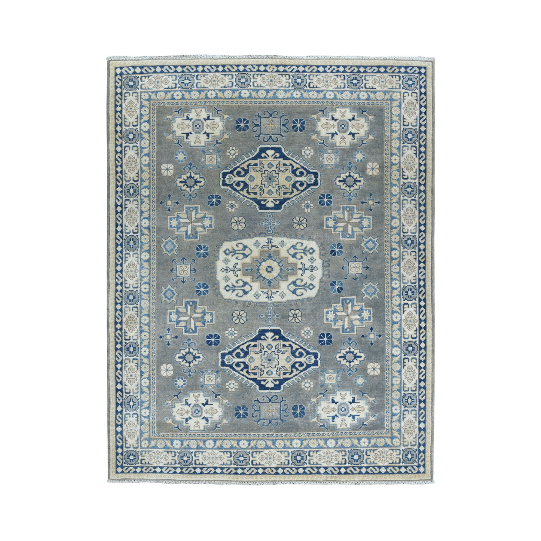 """4'9""""X6'8"""" Hand Knotted Gray Vintage Look Kazak Pure Wool Oriental Rug moaeadc7"""
