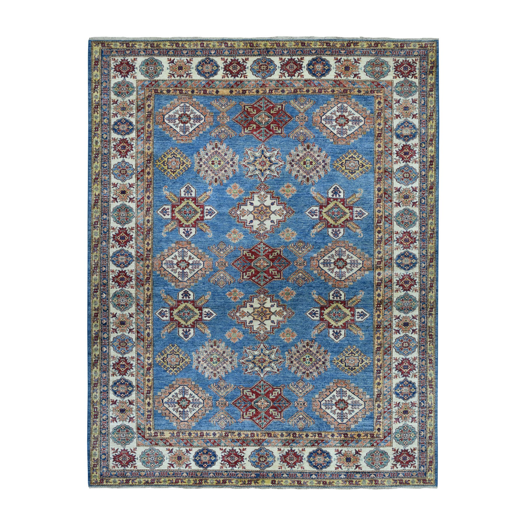 "8'2""X9'9"" Blue Super Kazak Geometric Design Pure Wool Hand-Knotted Oriental Rug moaeadc9"