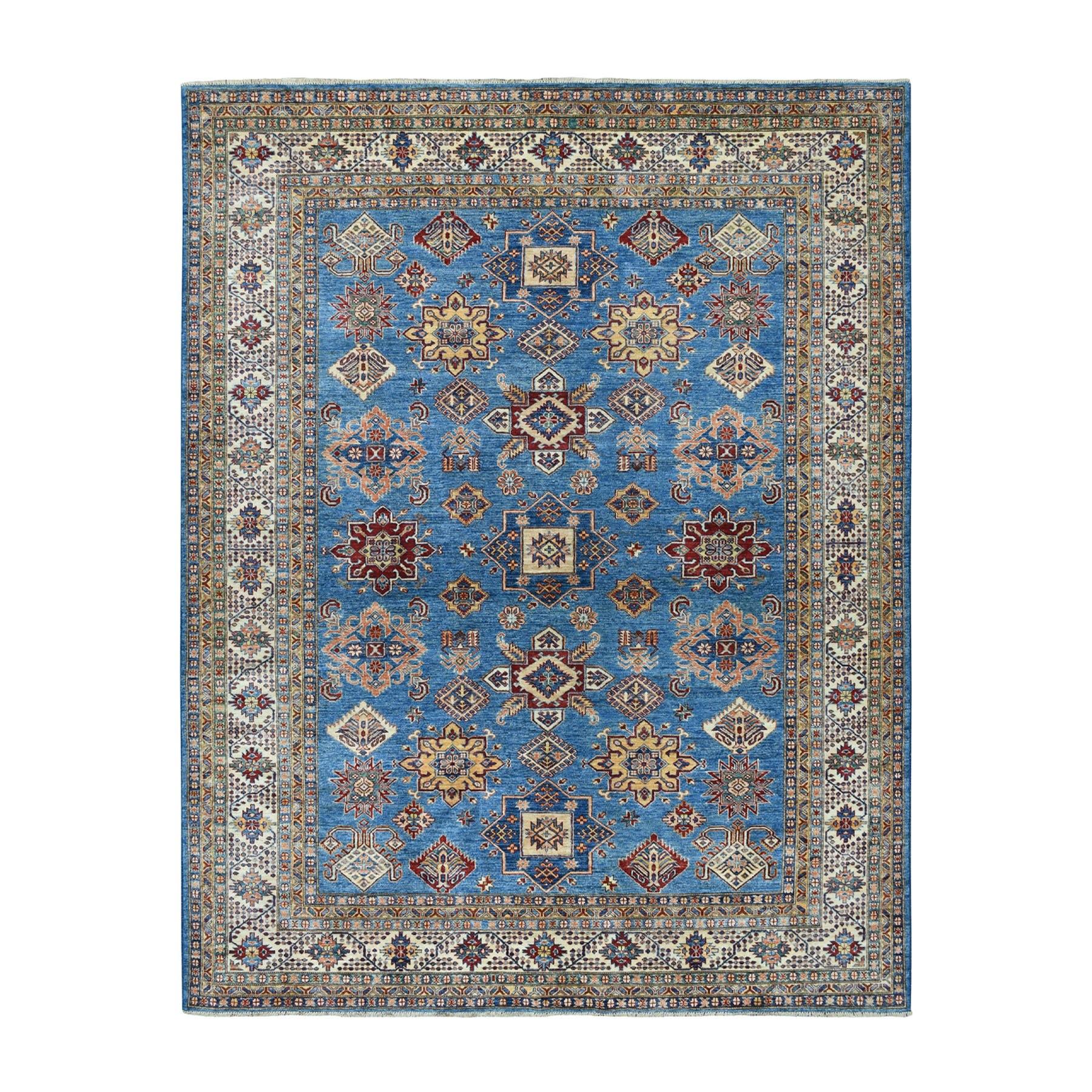 "8'1""x9'10"" Blue Super Kazak Geometric Design Pure Wool Hand-Knotted Oriental Rug 51440"