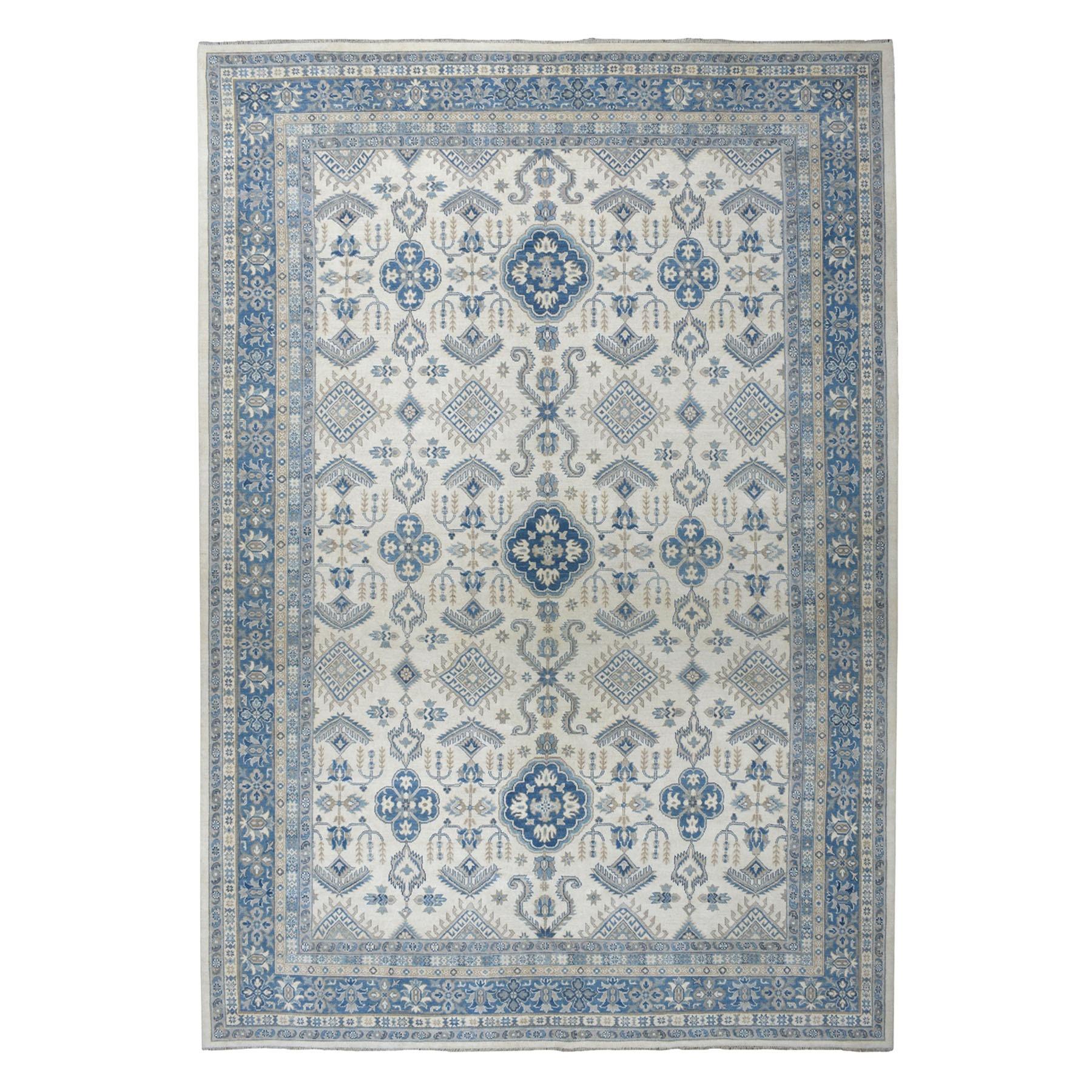 "10'X13'8"" Ivory Vintage Look Kazak Geometric Design Pure Wool Hand-Knotted Oriental Rug moaeaddd"