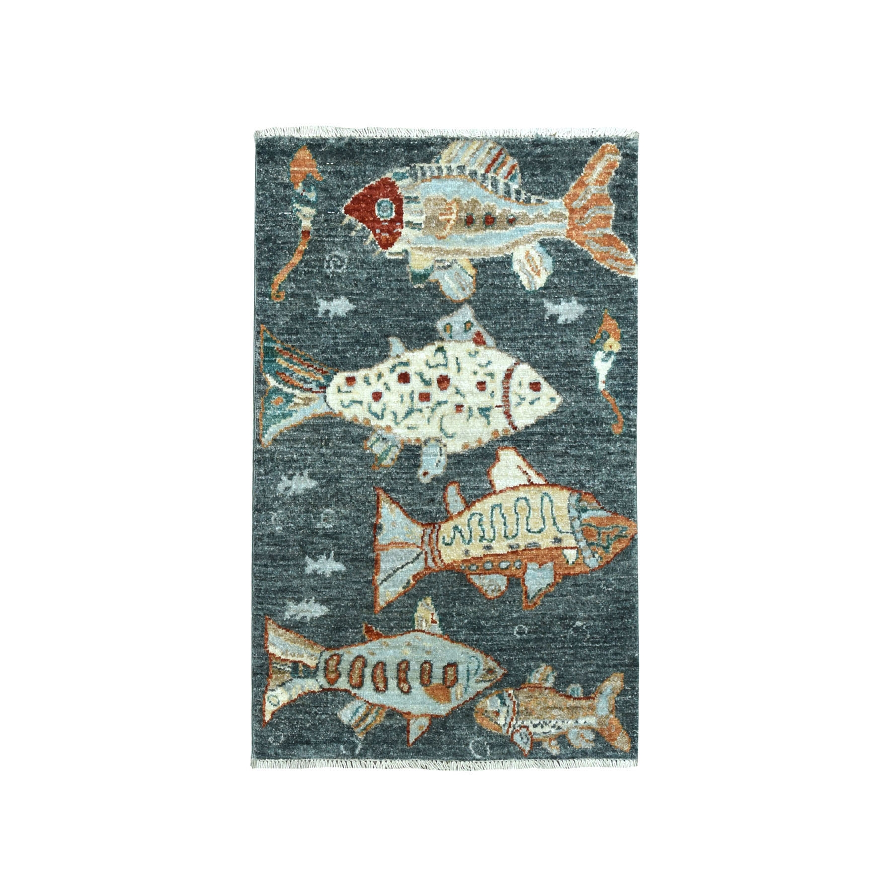 "1'10""X2'9"" Oceanic Fish Design Gray Pure Wool Hand-Knotted Oriental Novelty Rug moaeadd6"