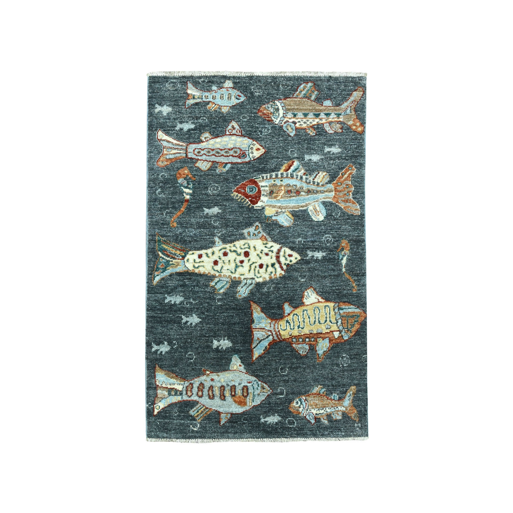 "2'6""X4'4"" Oceanic Fish Design Gray Pure Wool Hand Knotted Oriental Novelty Rug moaeadd7"