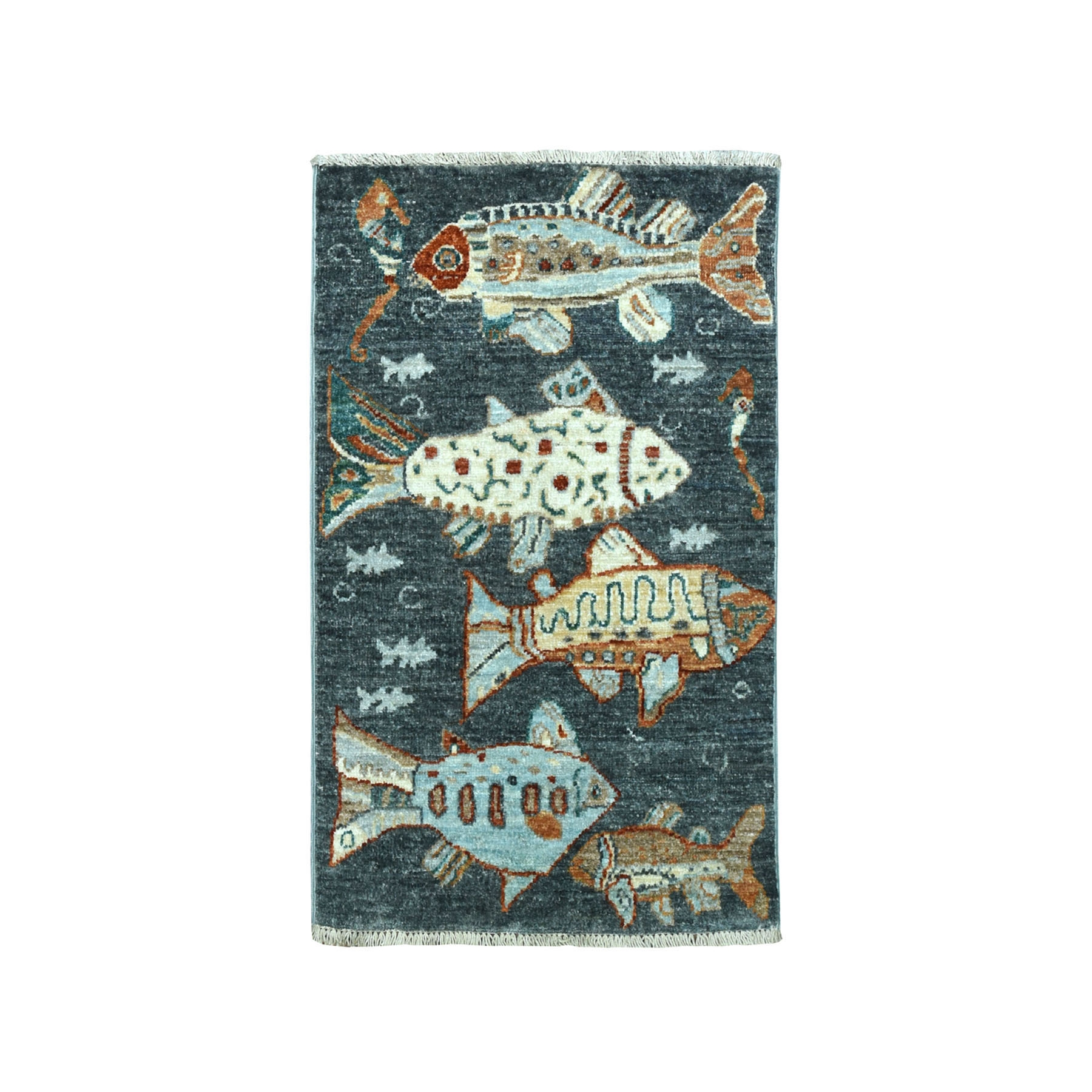 "1'10""X2'8"" Oceanic Fish Design Gray Pure Wool Hand-Knotted Oriental Novelty Rug moaeadd8"