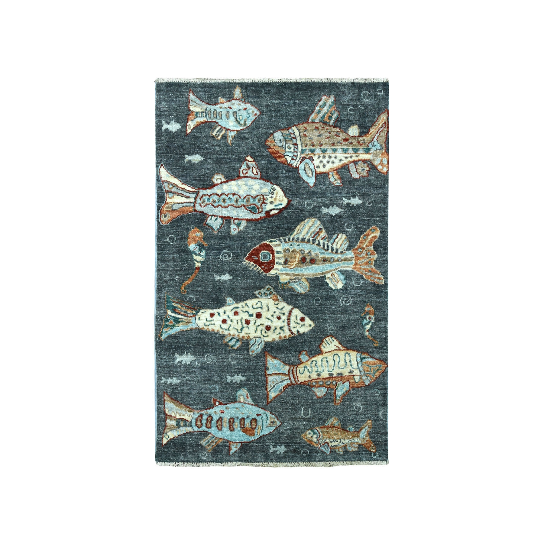 "2'6""x3'8"" Oceanic Fish Design Gray Pure Wool Hand Knotted Oriental Novelty Rug 51449"