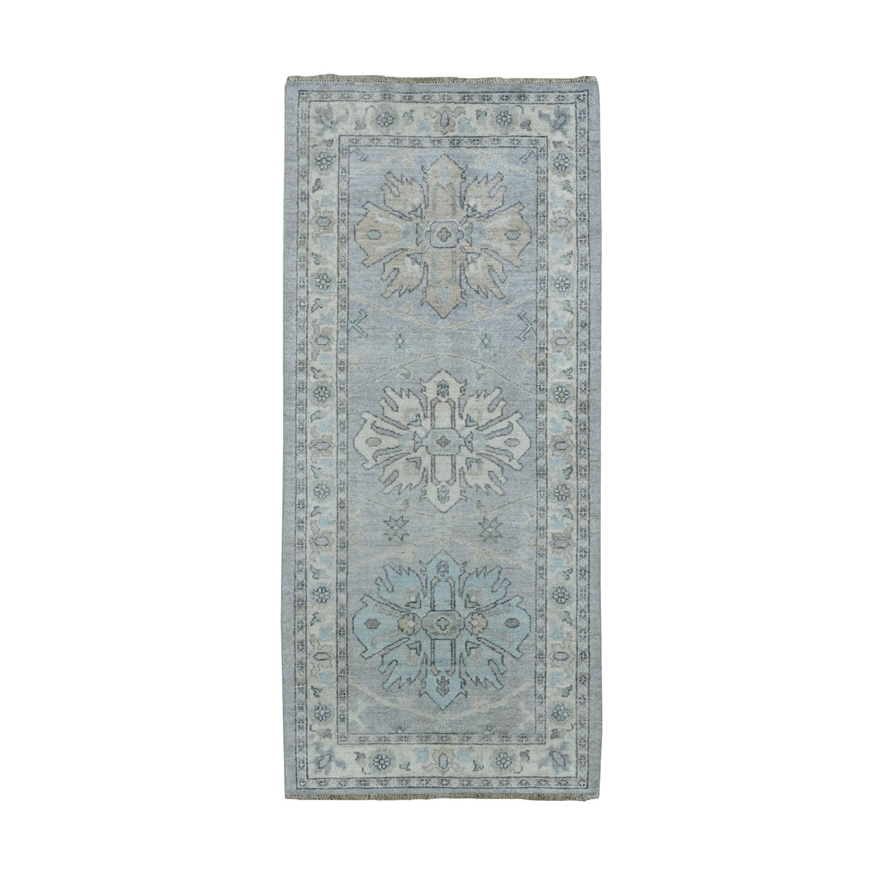 """2'7""""X6' White Wash Peshawar Pure Wool Hand Knotted Runner Oriental Rug moaeade7"""