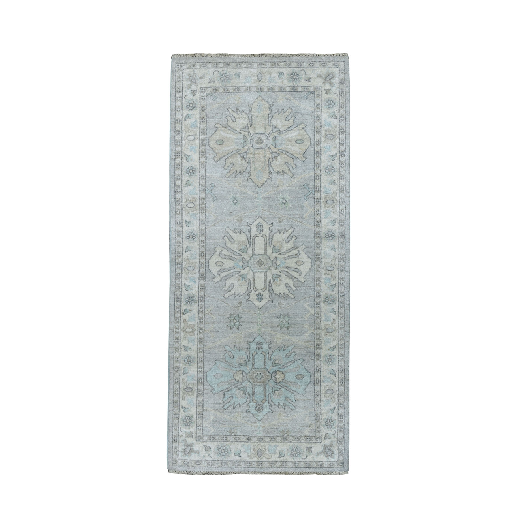 """2'6""""X5'10"""" White Wash Peshawar Pure Wool Hand-Knotted Runner Oriental Rug moaeade8"""