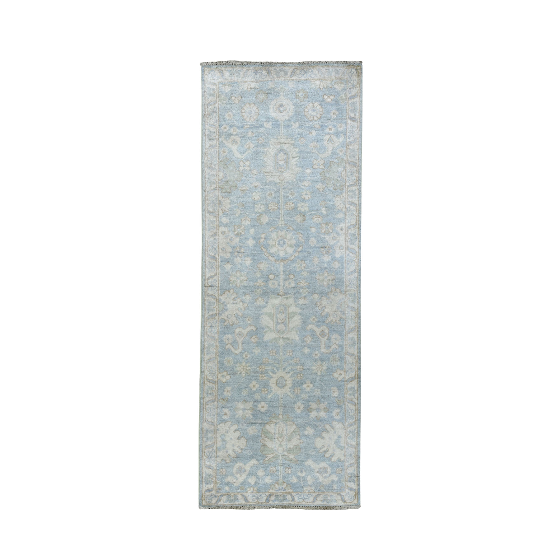 "2'X5'7"" White Wash Peshawar Pure Wool Hand-Knotted Runner Oriental Rug moaead6b"