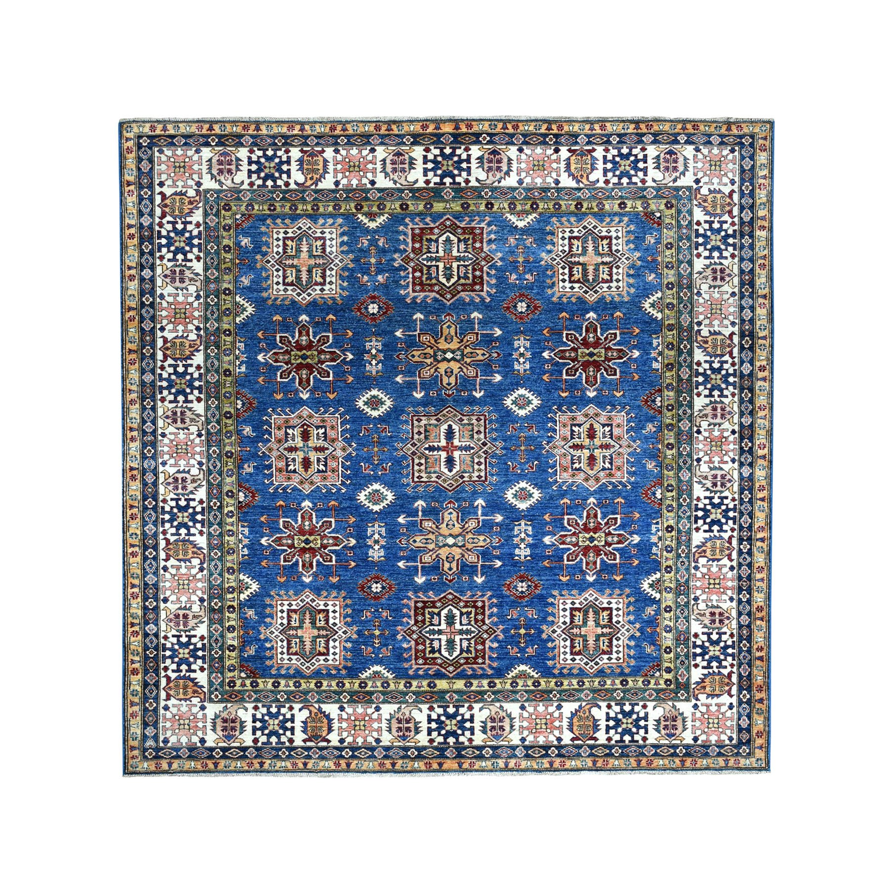 """8'3""""x8'3"""" Square Blue Super Kazak Pure Wool Hand Knotted Tribal Design Rug 51465"""