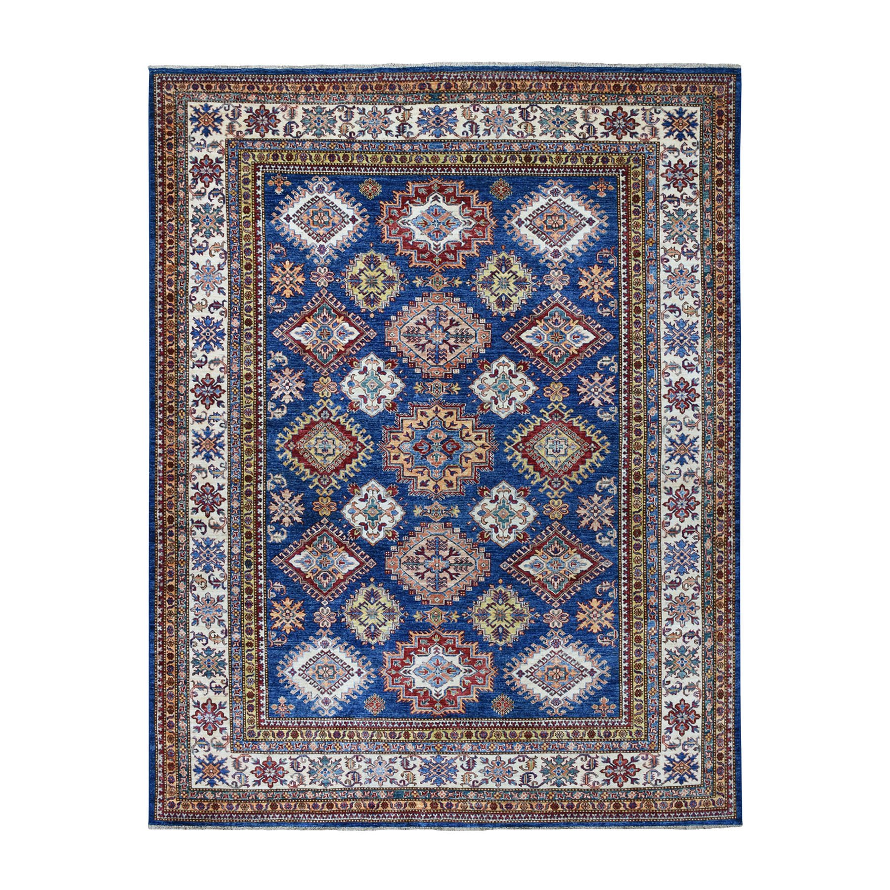 "7'10""X9'9"" Blue Super Kazak Geometric Design Pure Wool Hand Knotted Oriental Rug moaead66"