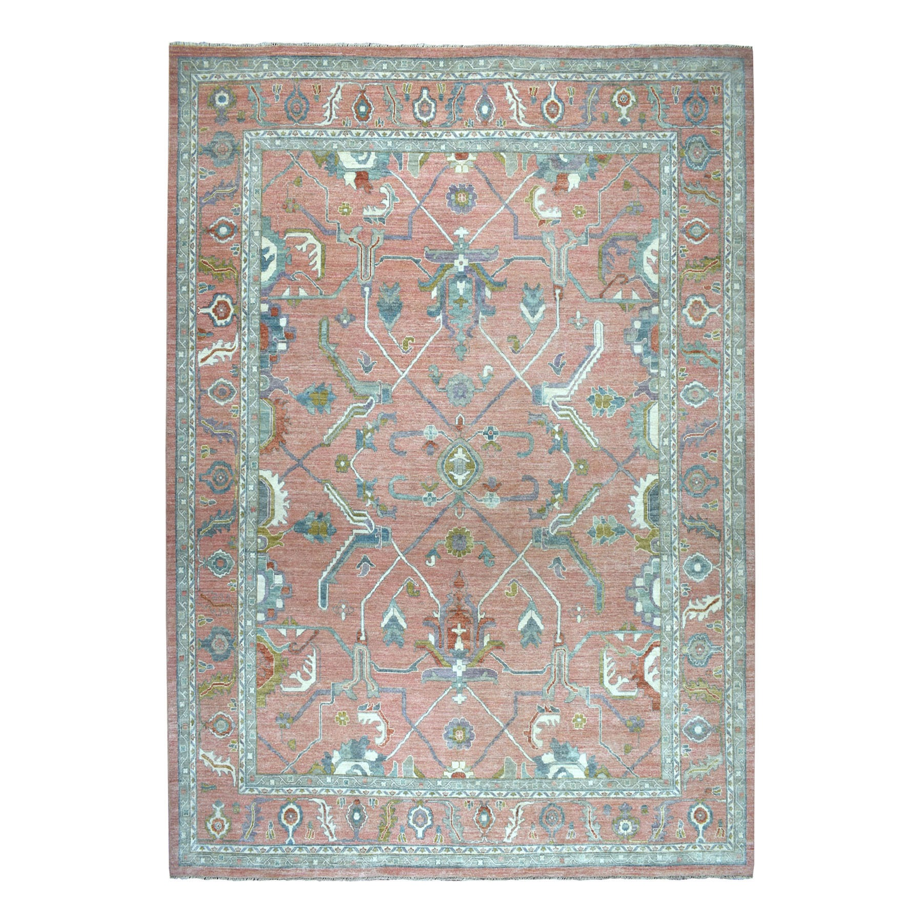 "12'x14'10"" Coral Oversized Angora Oushak Pure Wool Hand-Knotted Oriental Rug"