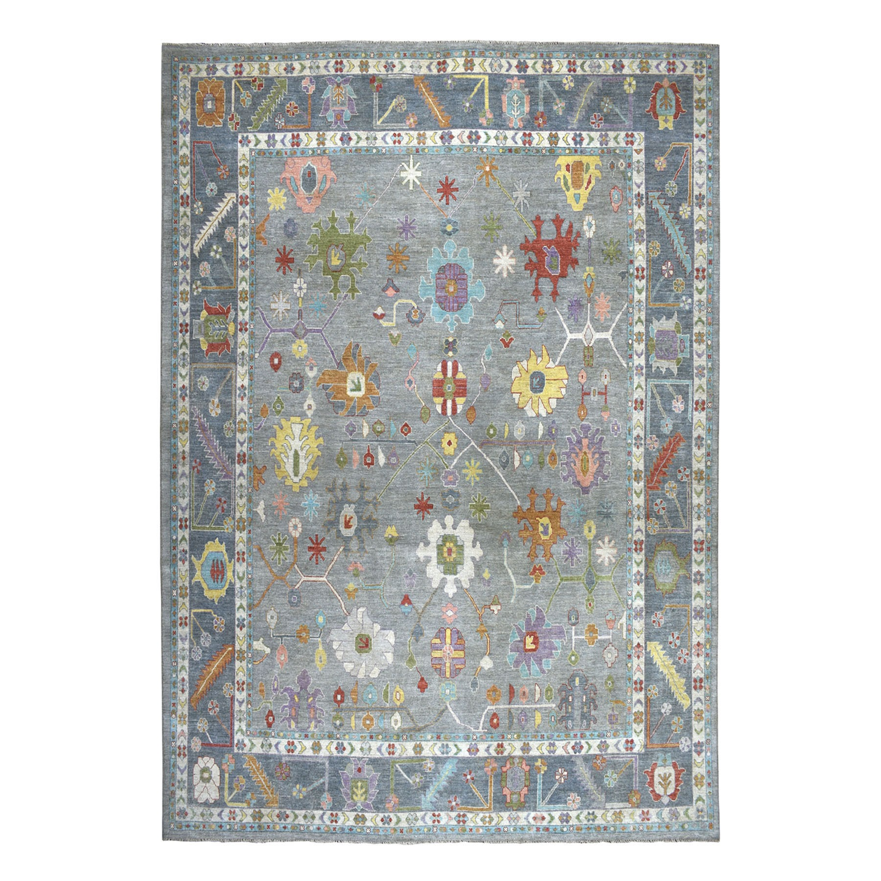 """12'1""""X14'5"""" Oversized Soft Angora Gray Colorful Oushak Hand-Knotted Oriental Rug moaead69"""