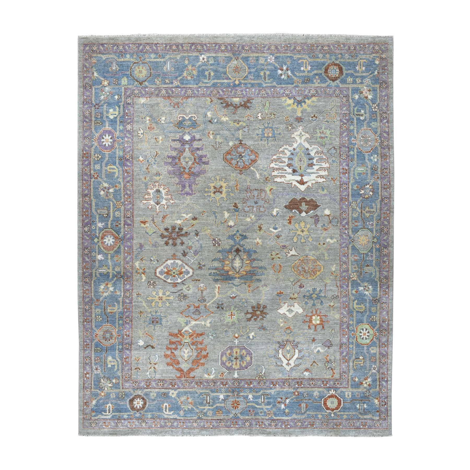 "8'1""X10'2"" Soft Angora Pure Wool Gray Oushak Hand-Knotted Wool Foundation Oriental Rug moaead7d"