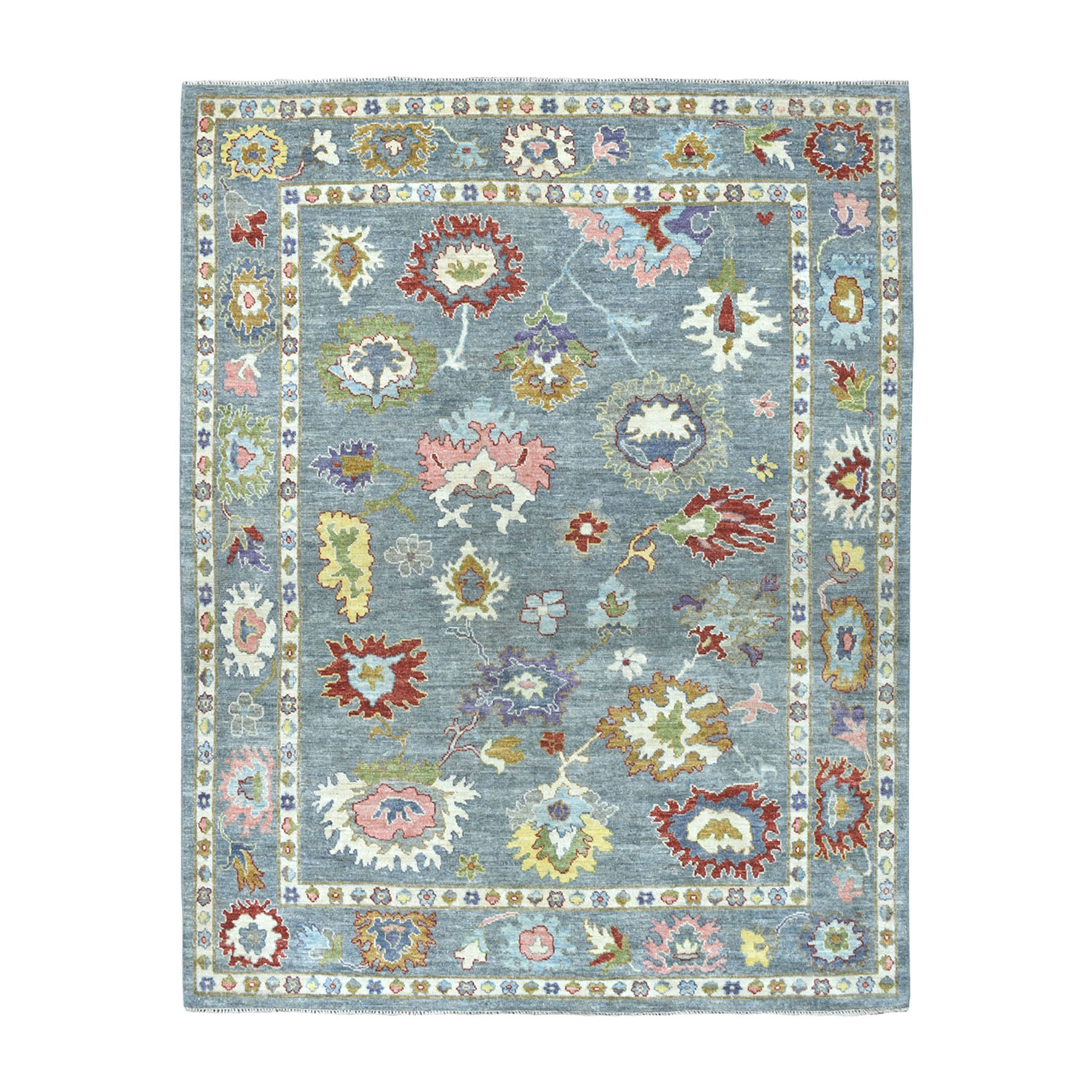 "7'7""X9'7"" Soft Angora Pure Wool Gray Oushak Hand-Knotted Colorful Oriental Rug moaead76"