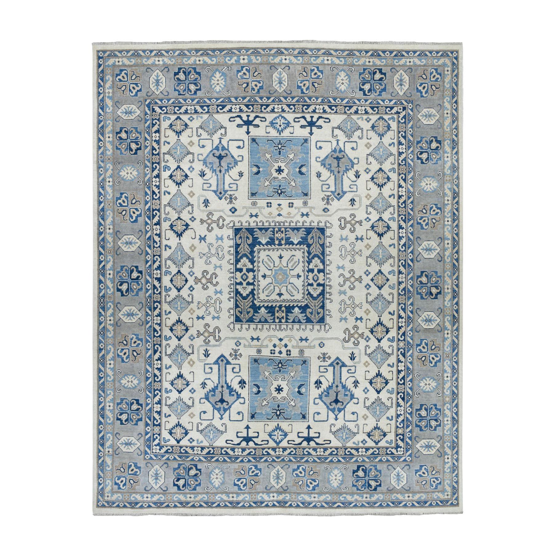 "8'x9'9"" Hand Knotted Gray Vintage Look Kazak Pure Wool Oriental Rug"