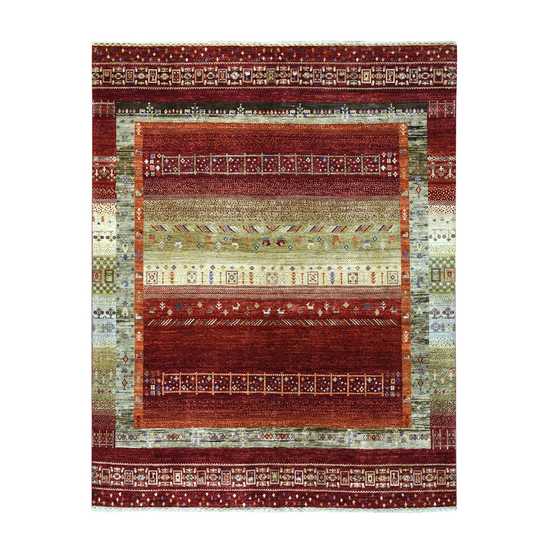 """7'10""""X9'6"""" Red Kashkuli Gabbeh Pictorial Pure Wool Hand-Knotted Oriental Rug moaead80"""