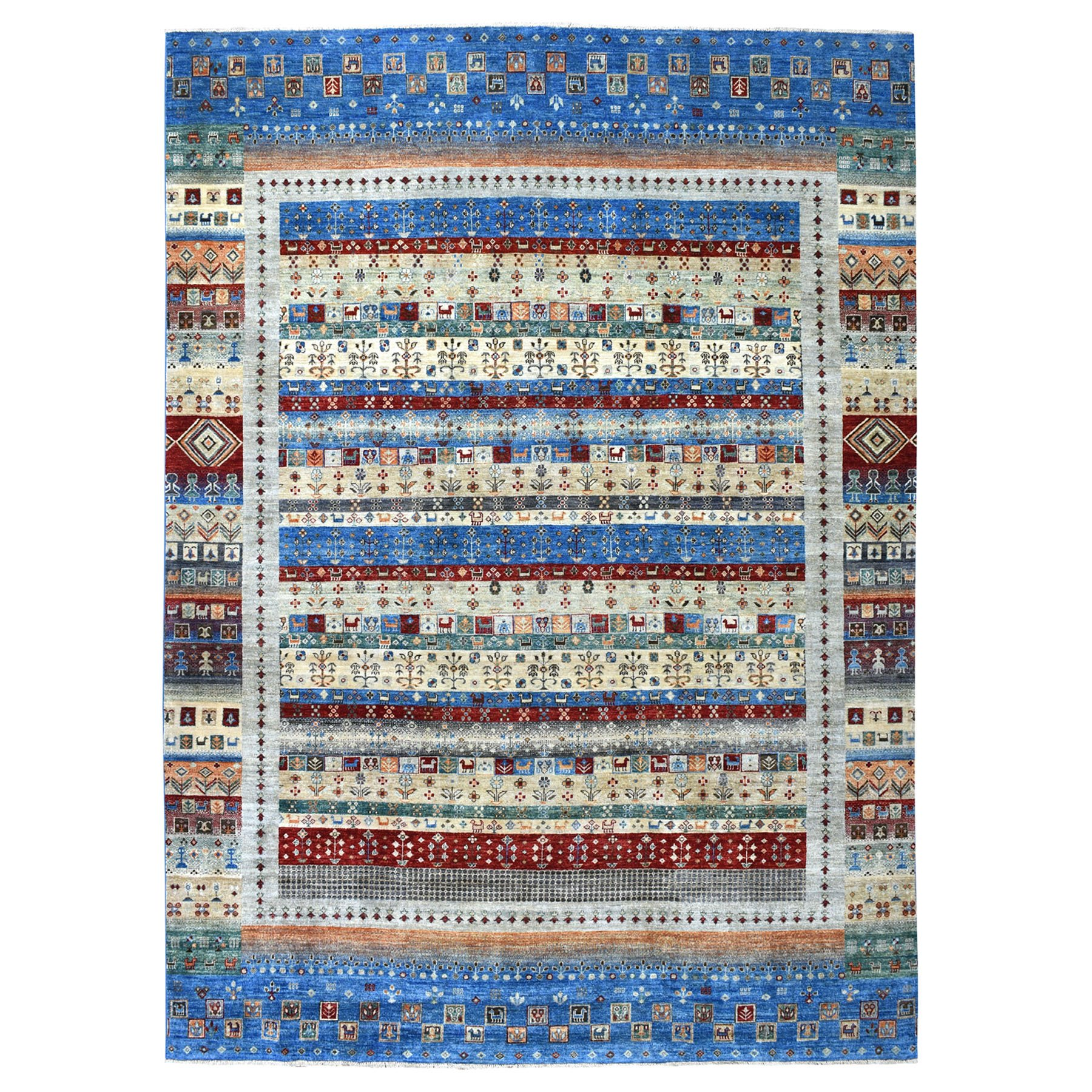 "8'8""x12' Blue Kashkuli Gabbeh Pictorial Pure wool Hand-knotted Oriental Rug"