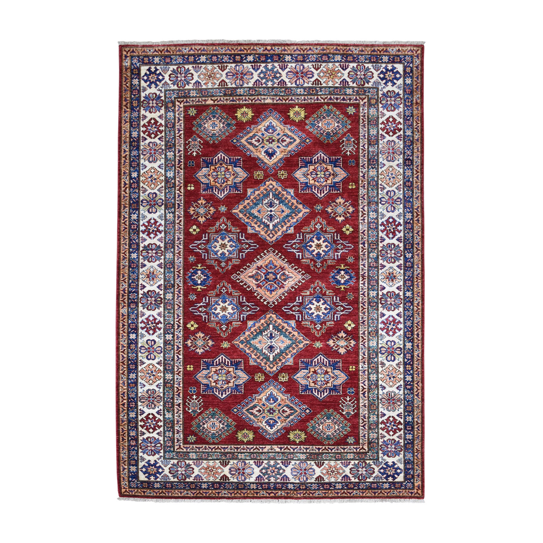 "5'8""X8'2"" Red Super Kazak Pure Wool Geometric Design Hand Knotted Oriental Rug moaead8d"