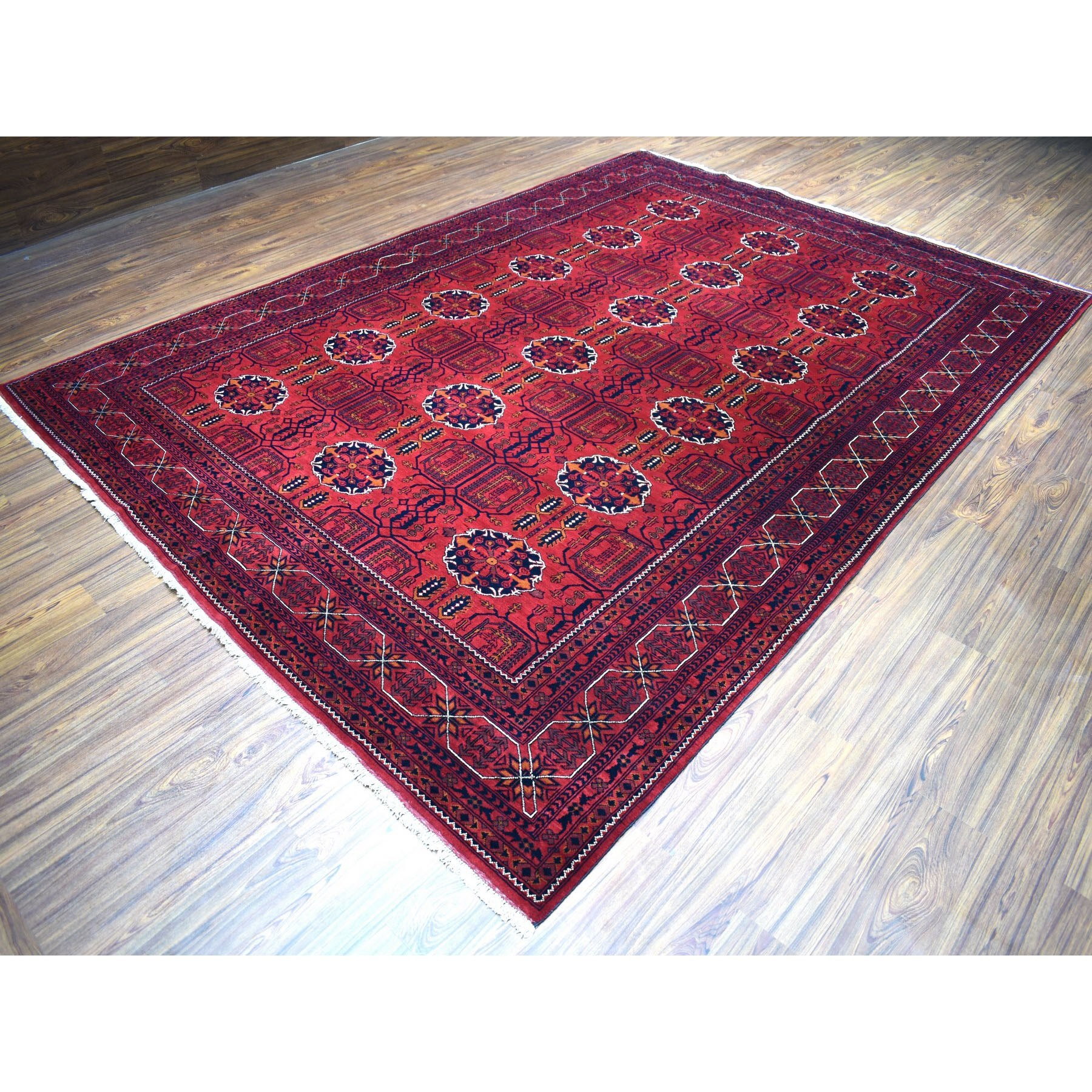 "8'3""x11'7"" Afghan Khamyab Natural Dyes Pure Wool Hand-Knotted Oriental Rug"