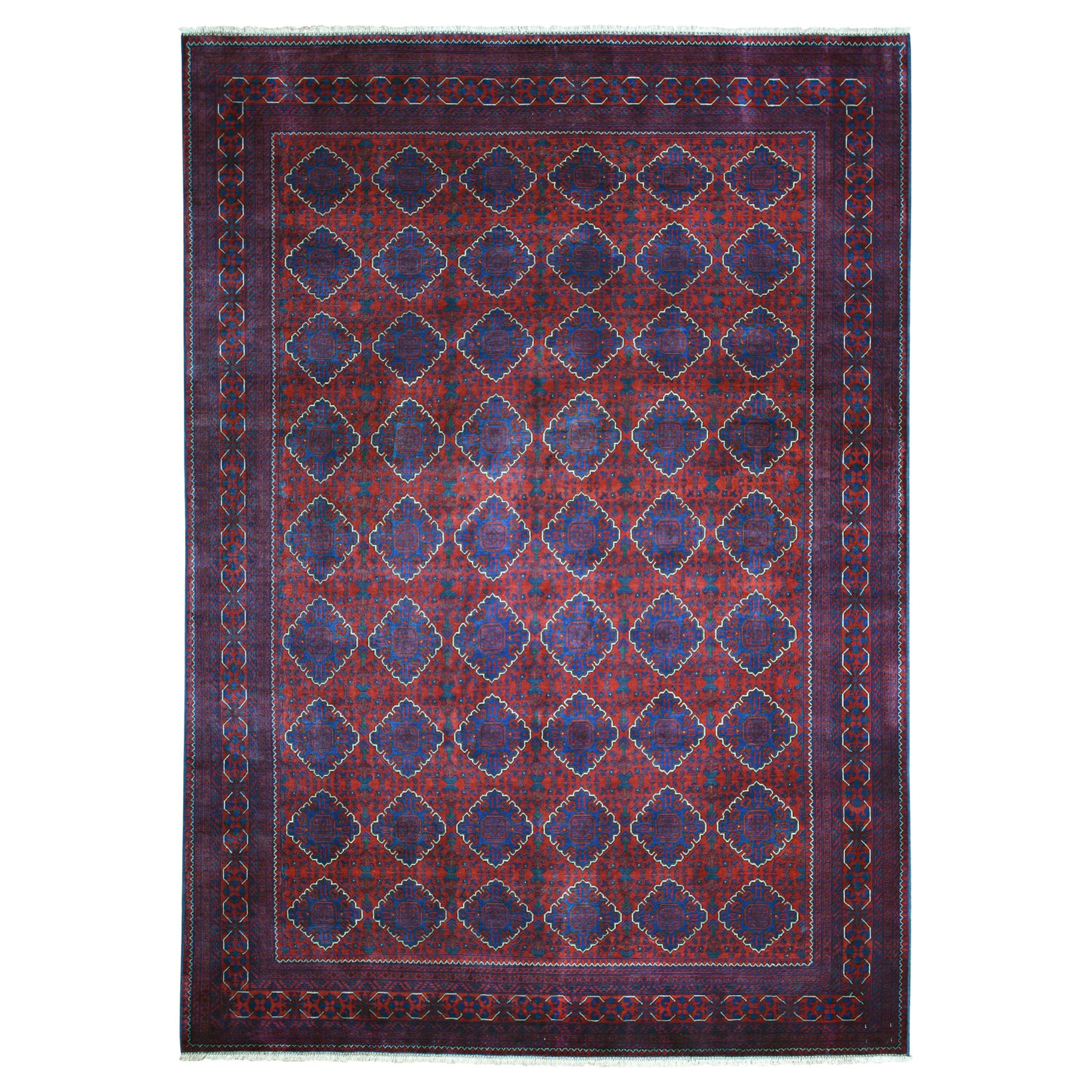 "8'5""X11'5"" Repetitive Design Pure Wool Afghan Khamyab Hand Knotted Oriental Rug moaead90"