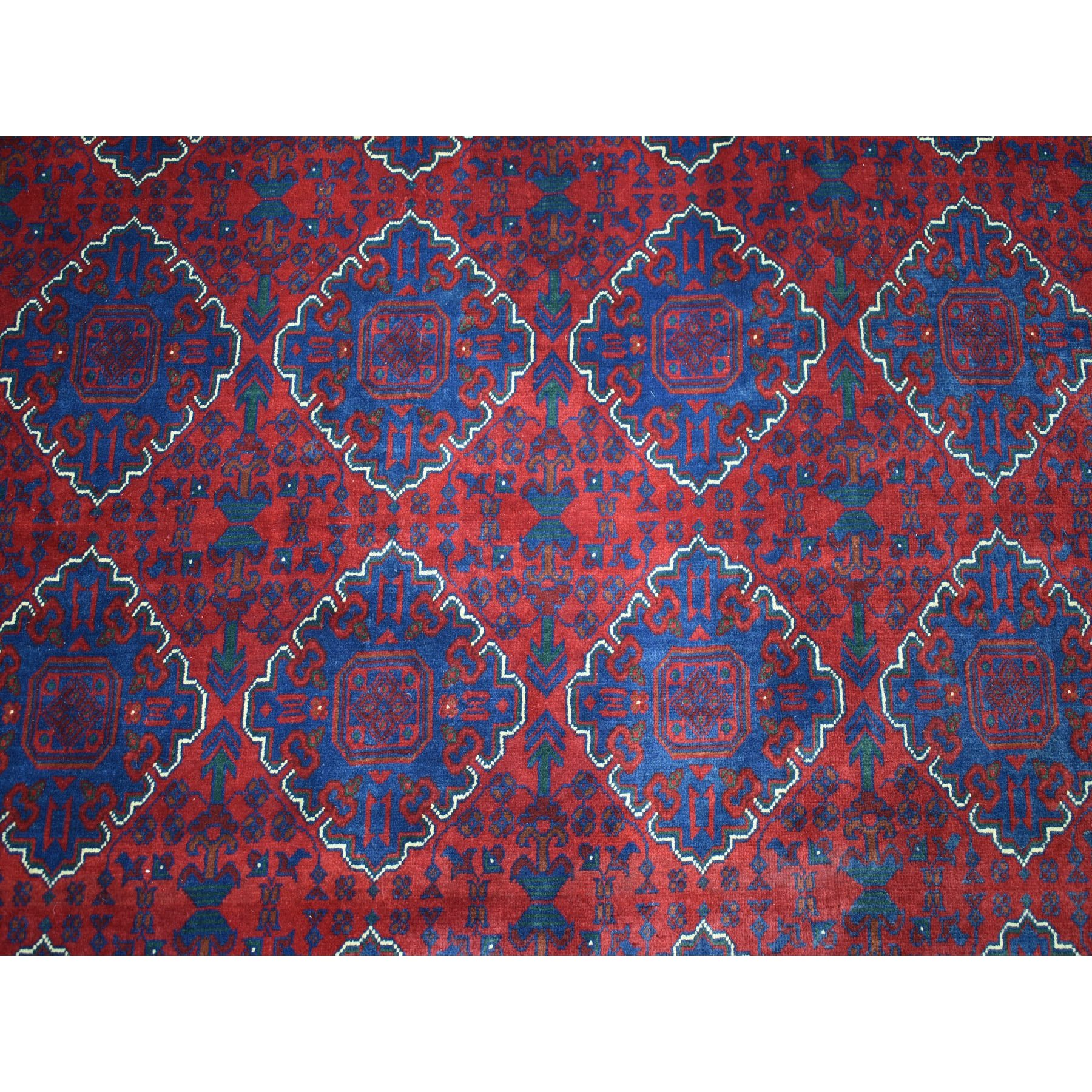 "8'5""x11'5"" Repetitive Design Pure Wool Afghan Khamyab Hand Knotted Oriental Rug"
