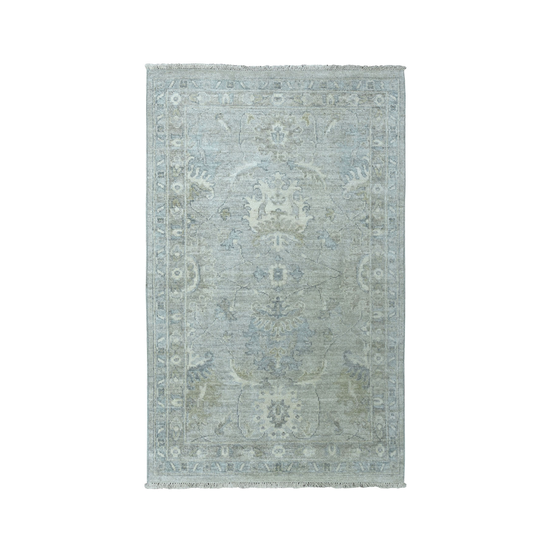 """3'1""""X4'10"""" White Wash Peshawar Pure Wool Hand-Knotted Oriental Rug moaead9b"""