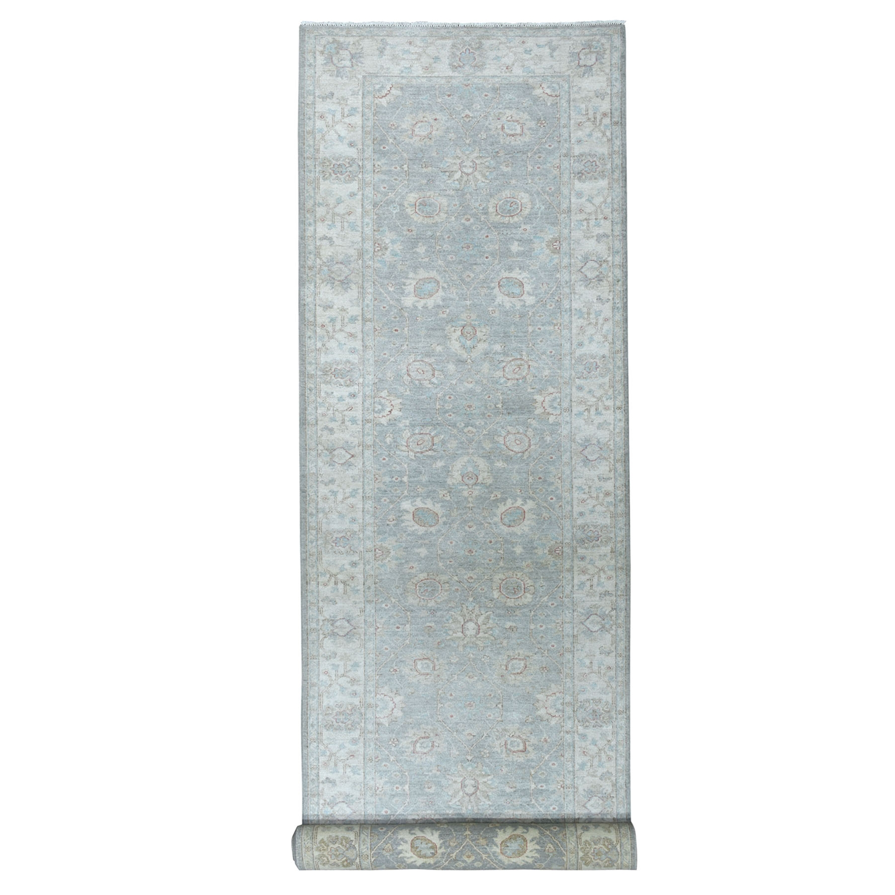 """4'2""""X18'8"""" White Wash Peshawar Pure Wool Hand-Knotted Wide Runner Oriental Rug moaead9c"""