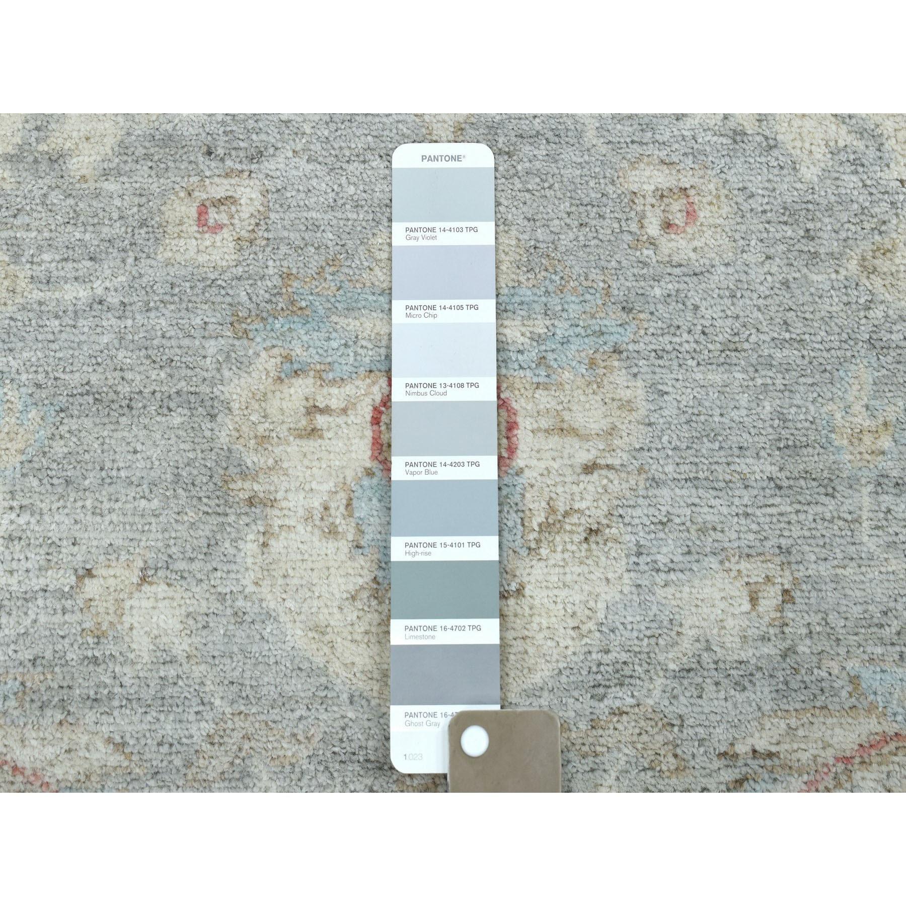 "4'2""x18'8"" White Wash Peshawar Pure Wool Hand-Knotted Wide Runner Oriental Rug"