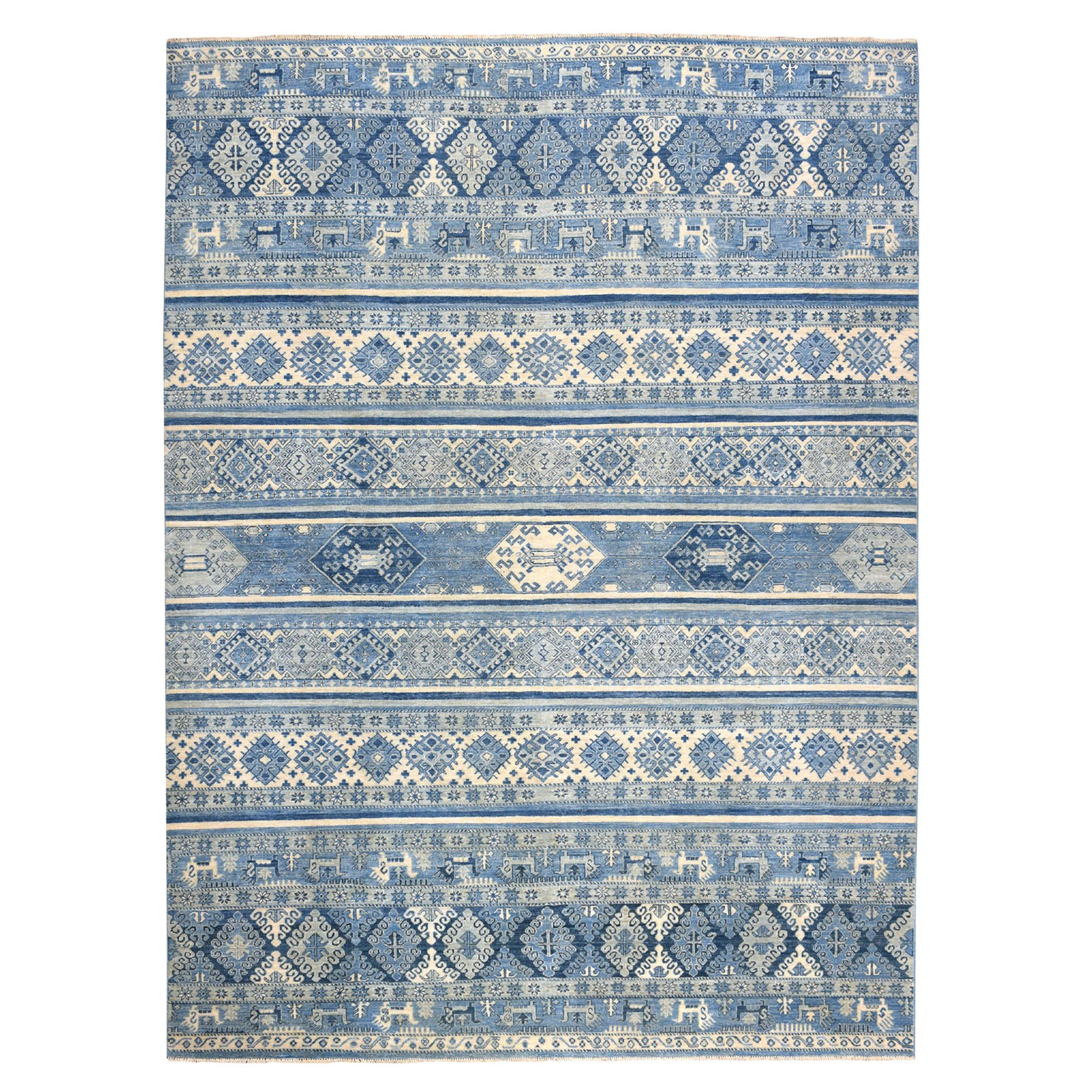 "9'X11'10"" Blue Super Kazak Khorjin Design Pure Wool Hand-Knotted Oriental Rug moaead9e"