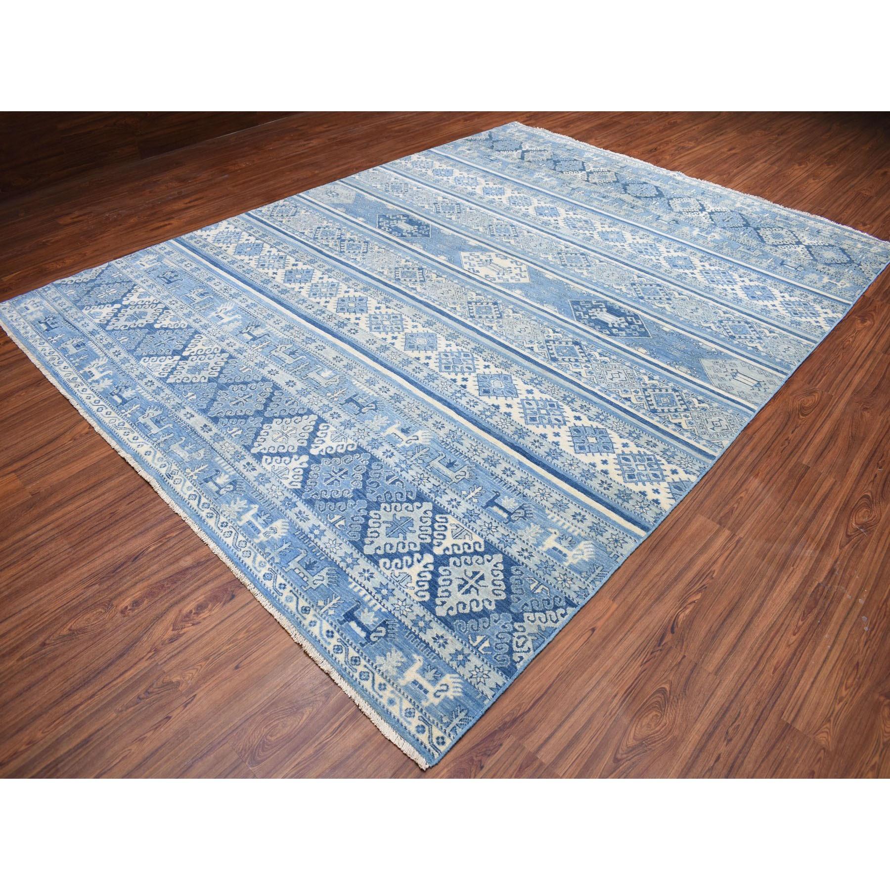 "9'x11'10"" Blue Super Kazak Khorjin Design Pure Wool Hand-Knotted Oriental Rug"