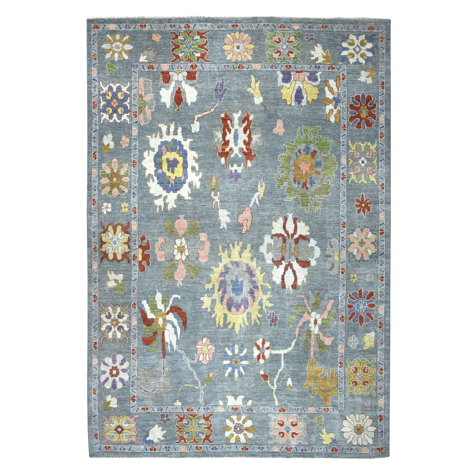 """9'9""""X13'9"""" Soft Angora Pure Wool Gray Oushak Hand-Knotted Oriental Colorful Rug moaead97"""
