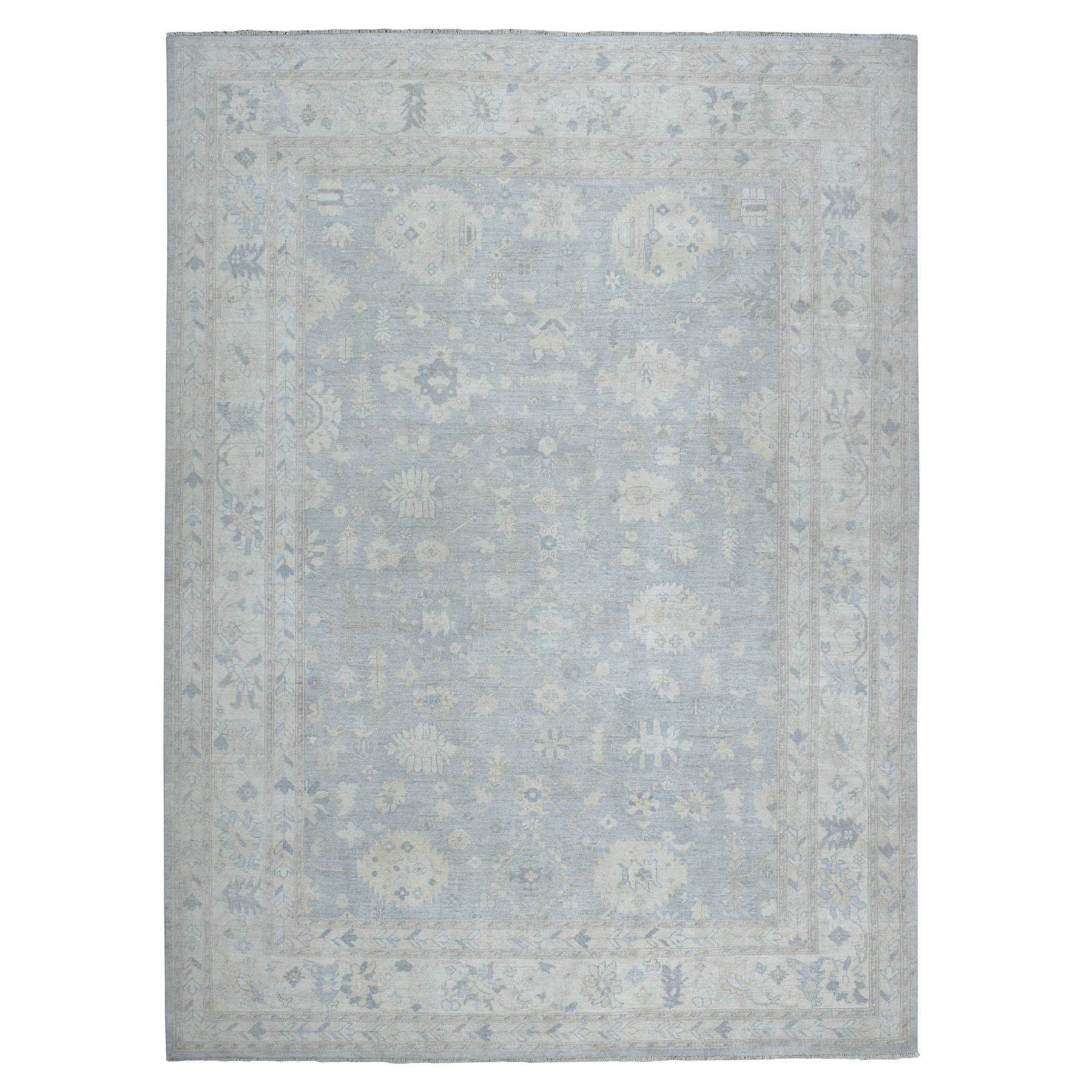 """9'1""""X11'10"""" White Wash Peshawar Pure Wool Hand-Knotted Oriental Rug moaead99"""