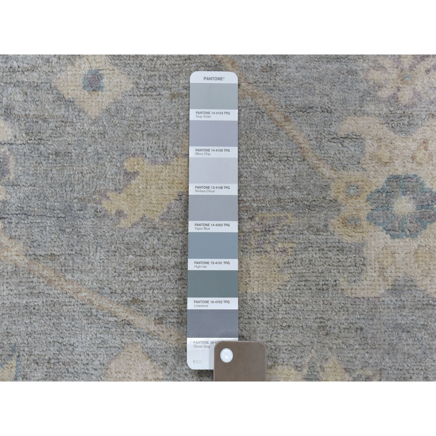 """9'1""""x11'10"""" White Wash Peshawar Pure Wool Hand-Knotted Oriental Rug"""