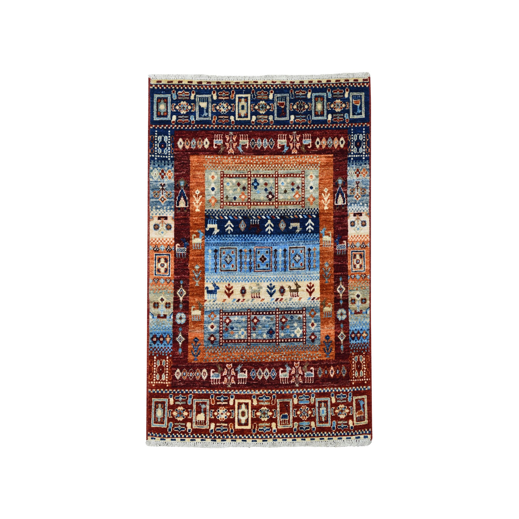 """2'9""""X4' Red Kashkuli Gabbeh Pictorial Pure Wool Hand-Knotted Oriental Rug moaeaebc"""