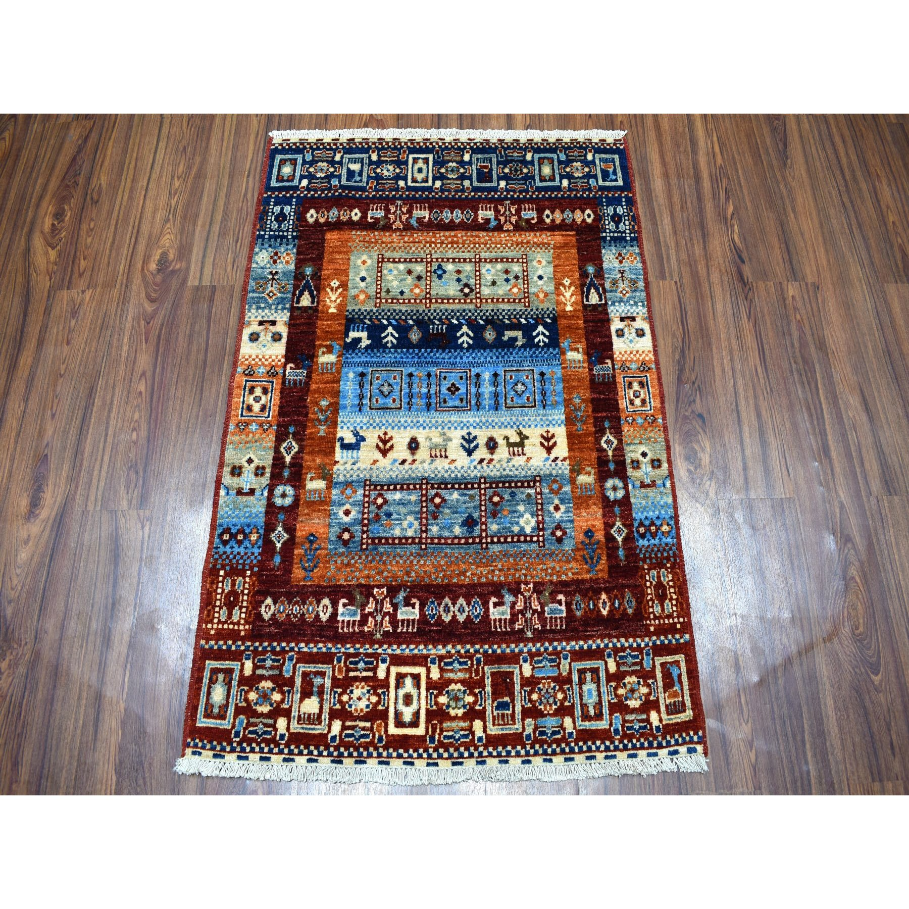 2-9 x4- Red Kashkuli Gabbeh Pictorial Pure wool Hand-knotted Oriental Rug