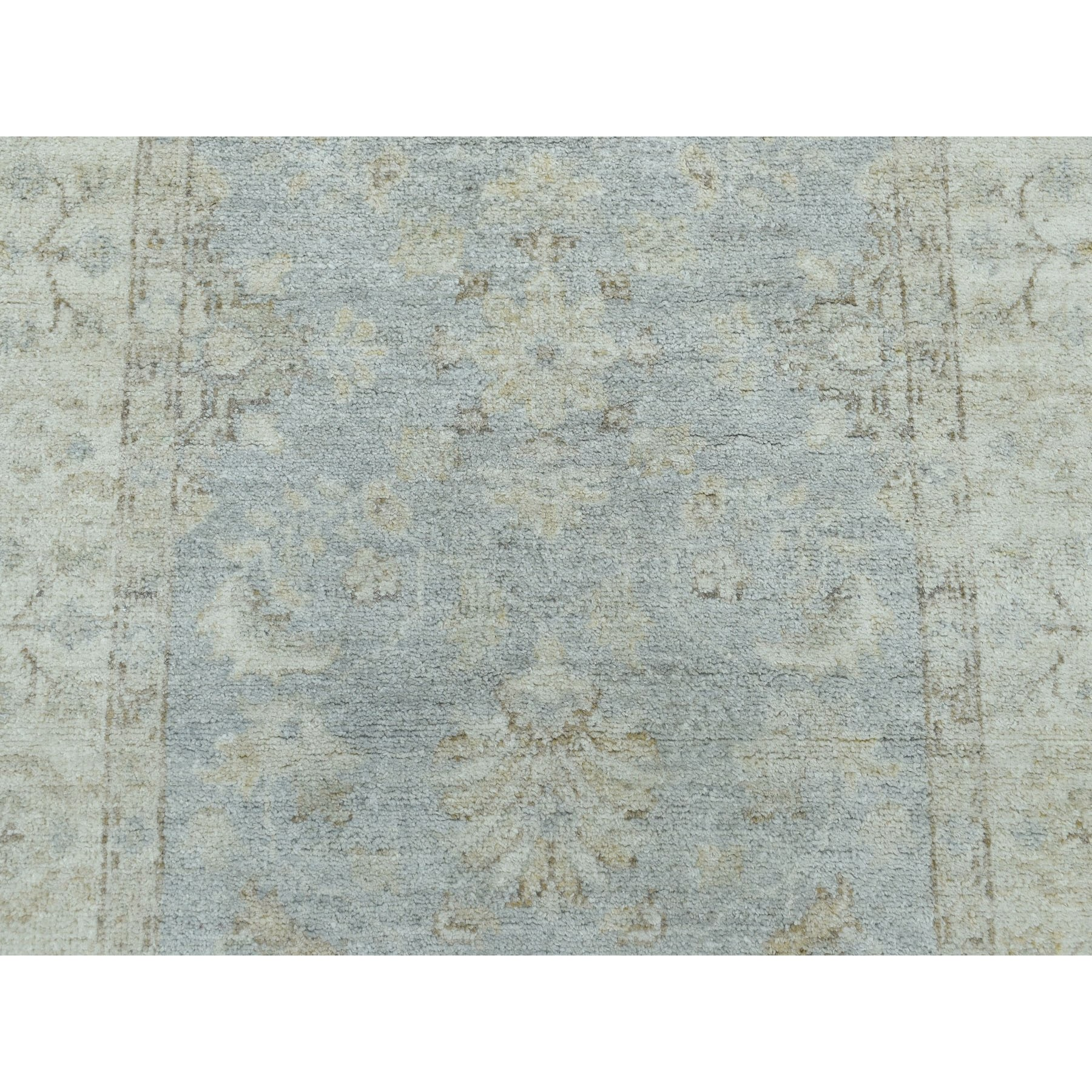 "2'9""x11'9"" White Wash Peshawar Pure Wool Hand-Knotted Runner Oriental Rug"