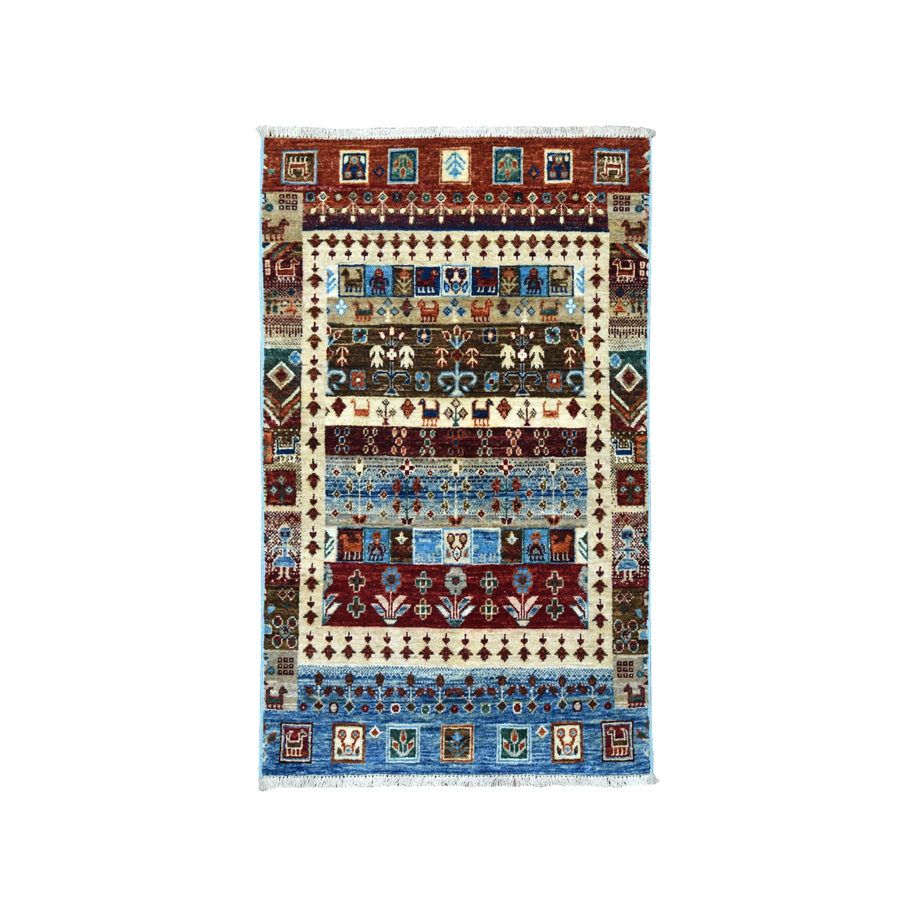 "2'7""X4' Blue Gabbeh Kashkuli Pictorial Pure Wool Hand-Knotted Oriental Rug moaeae67"