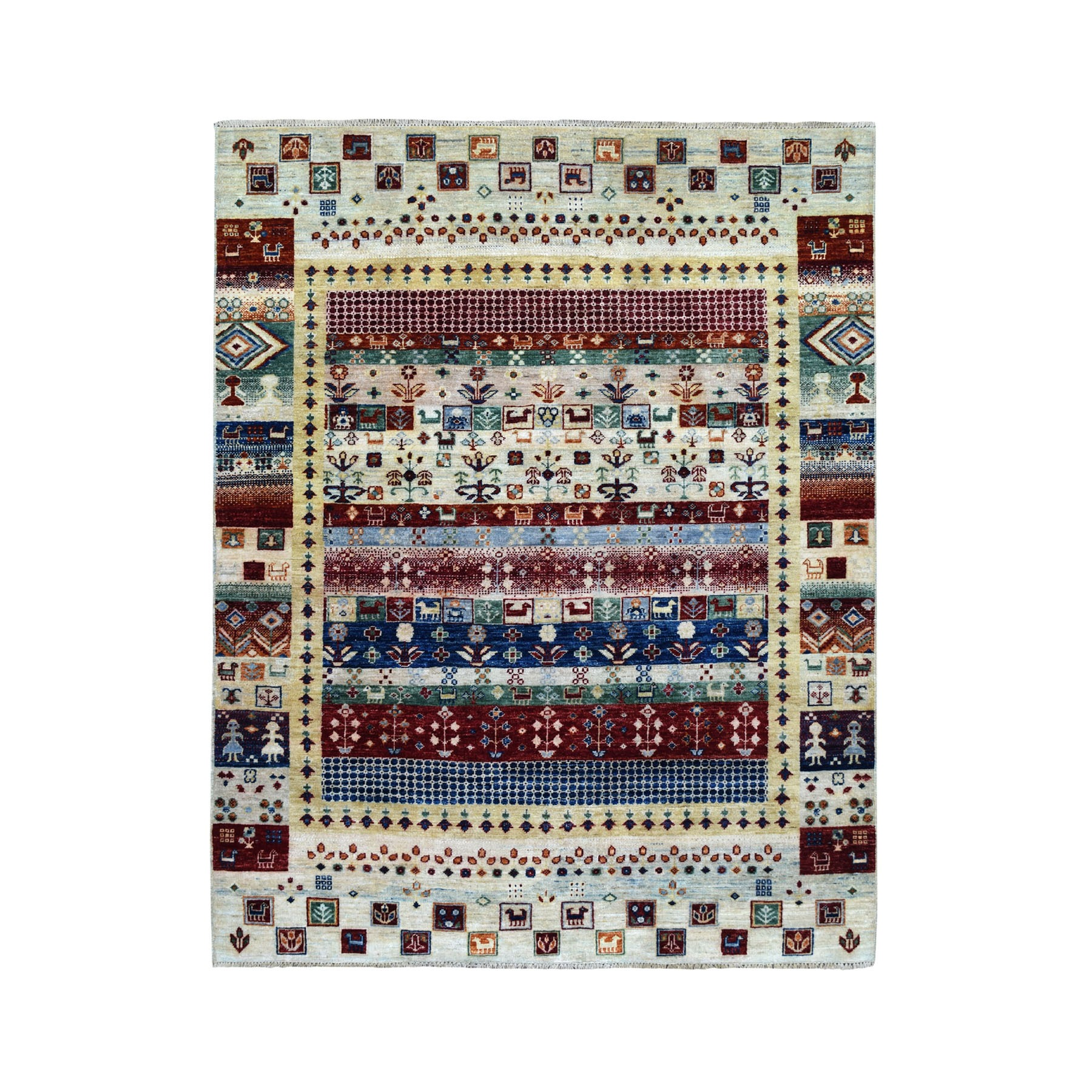 5-x6-6  Colorful Kashkuli Gabbeh Pictorial Pure wool Hand-knotted Oriental Rug