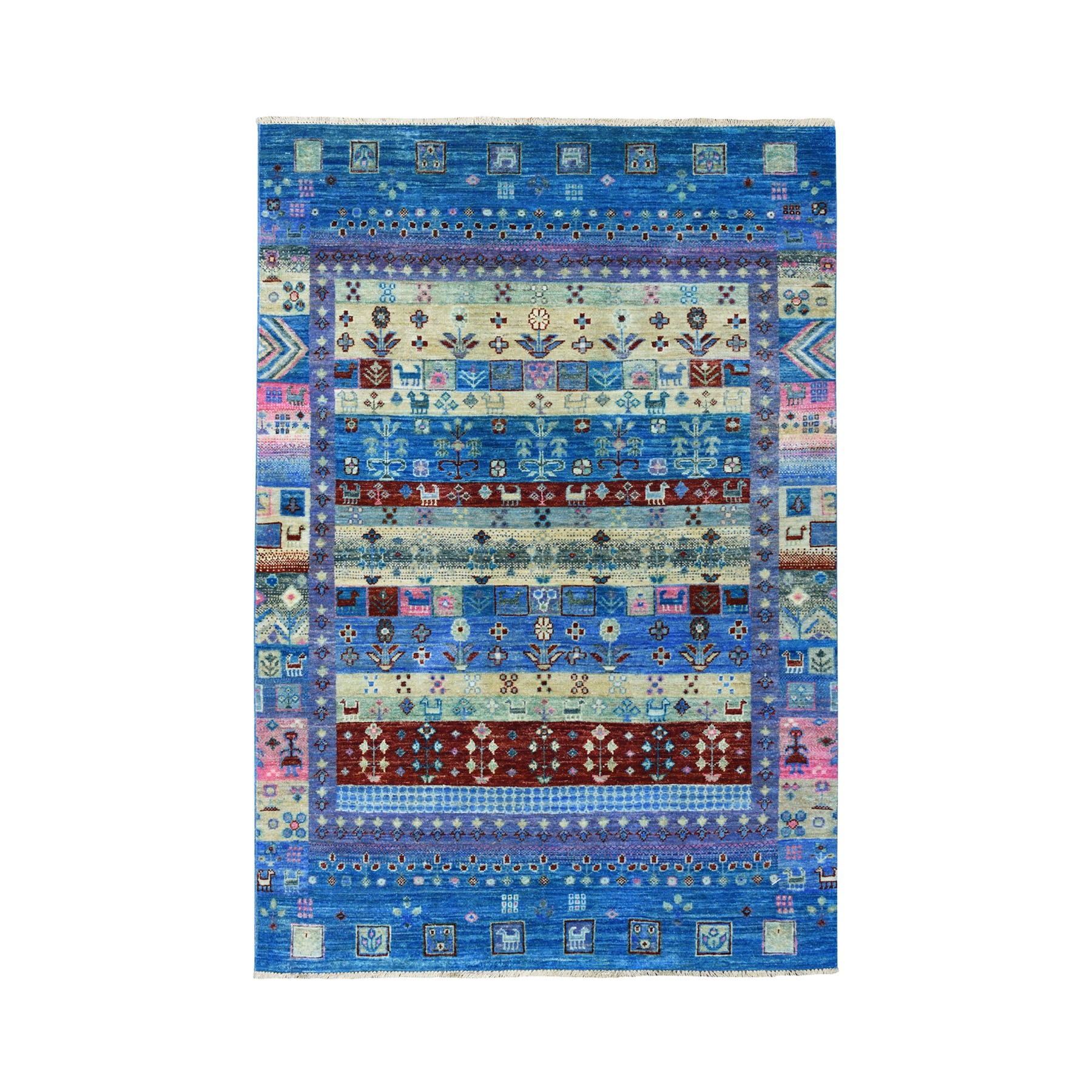 "4'x5'10"" Colorful Kashkuli Gabbeh Natural Dyes Pure wool Hand-Knotted Oriental Rug 51615"