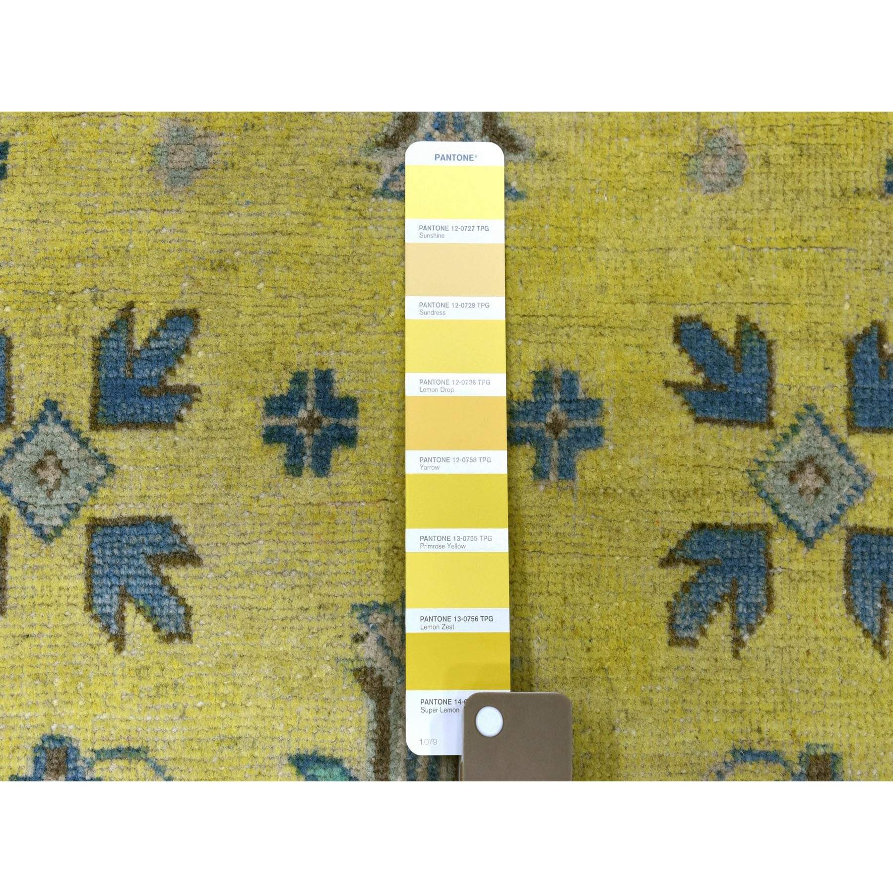 """5'x6'9"""" Colorful Yellow Fusion Kazak Pure Wool Hand-Knotted Oriental Rug"""