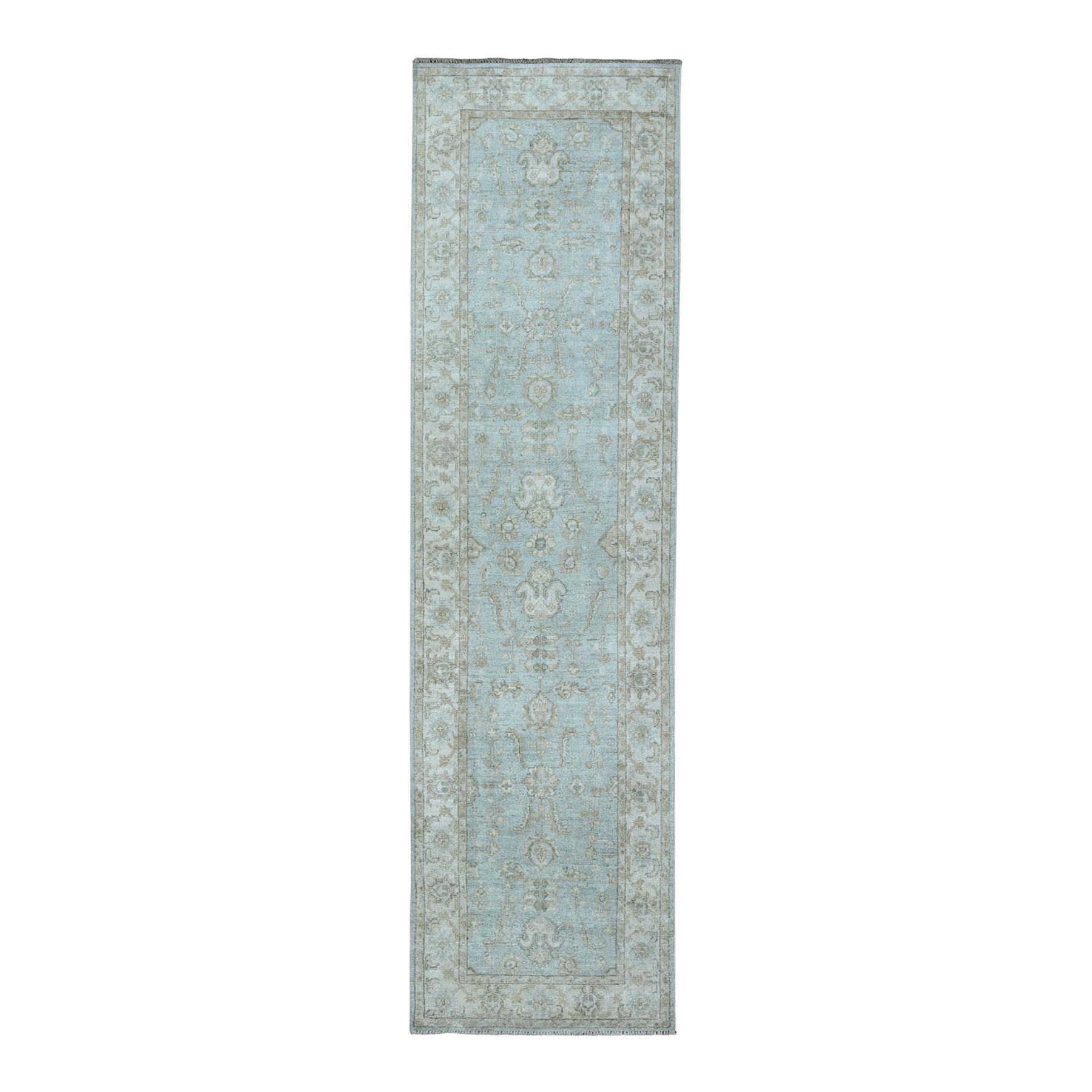"2'7""x9'9"" White Wash Peshawar Pure Wool Hand-Knotted Runner Oriental Rug"
