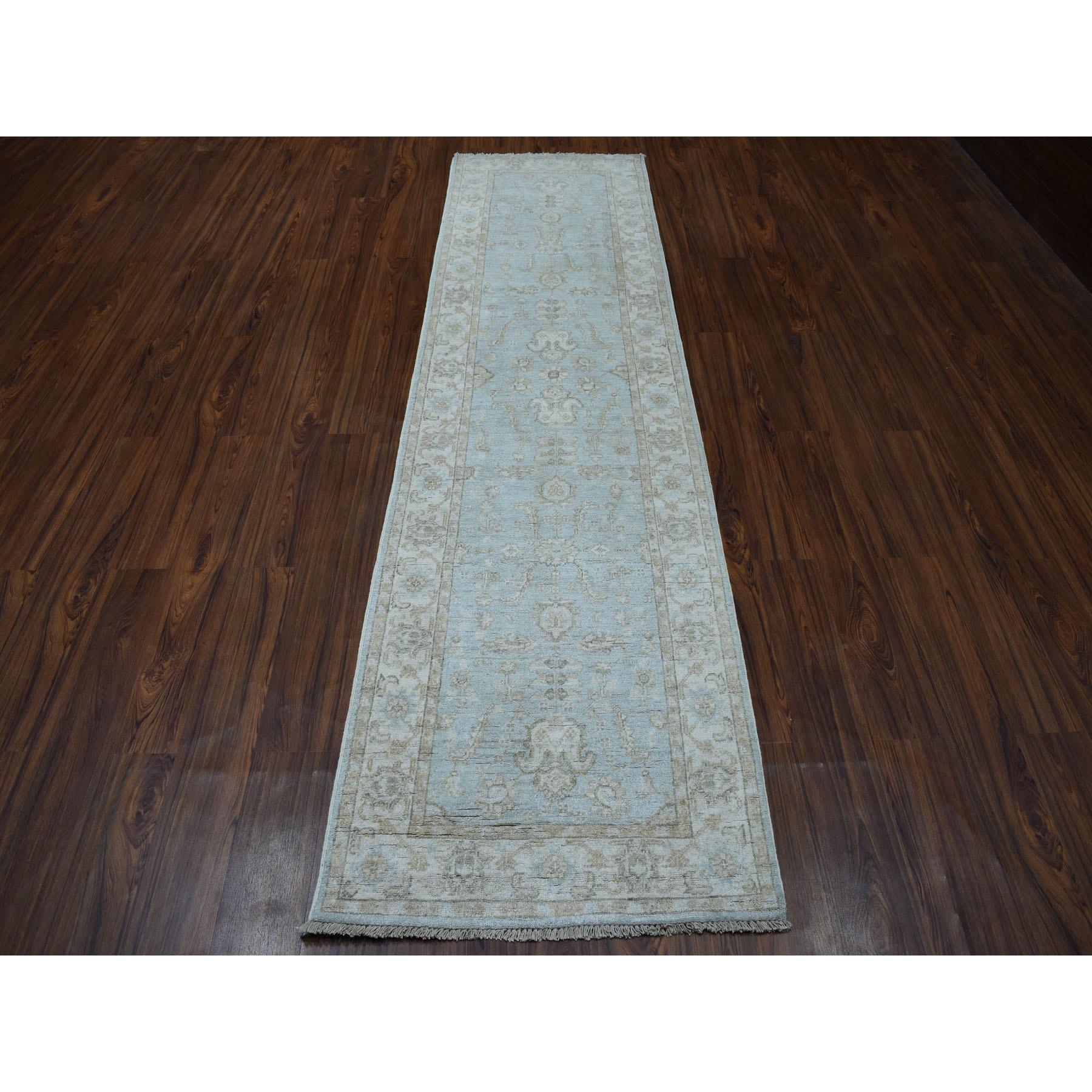 2-7 x9-9  White Wash Peshawar Pure Wool Hand-Knotted Runner Oriental Rug