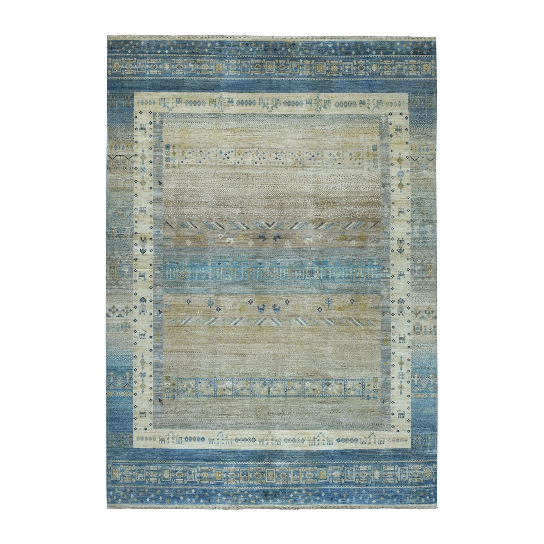 "6'8""X9'10"" Pure Wool Kashkuli Gabbeh Pictorial Hand-Knotted Oriental Rug moaea6e8"