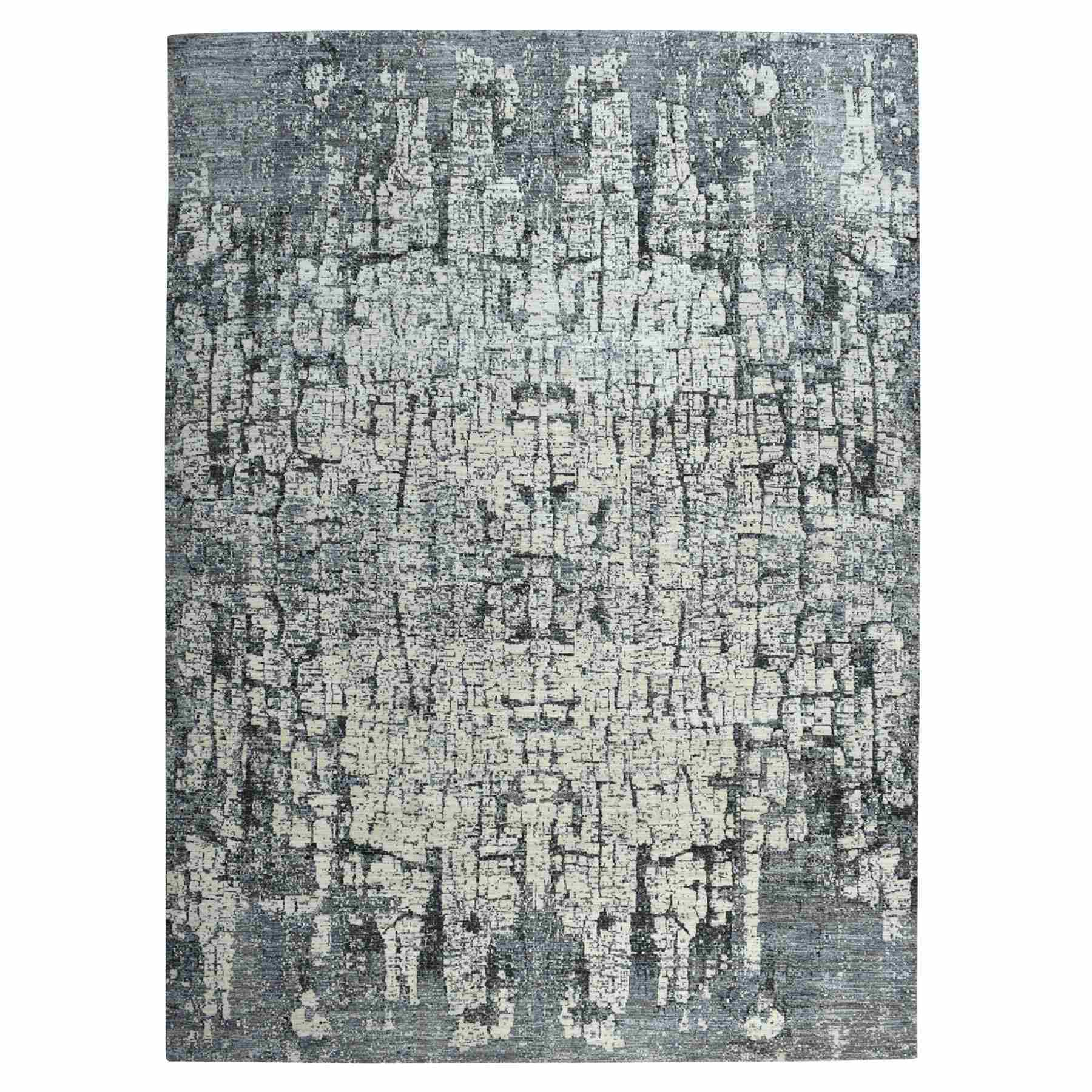 """9'X12'3"""" The Tree Bark Abstract Hand-Knotted Soft Wool Oriental Rug moaea700"""